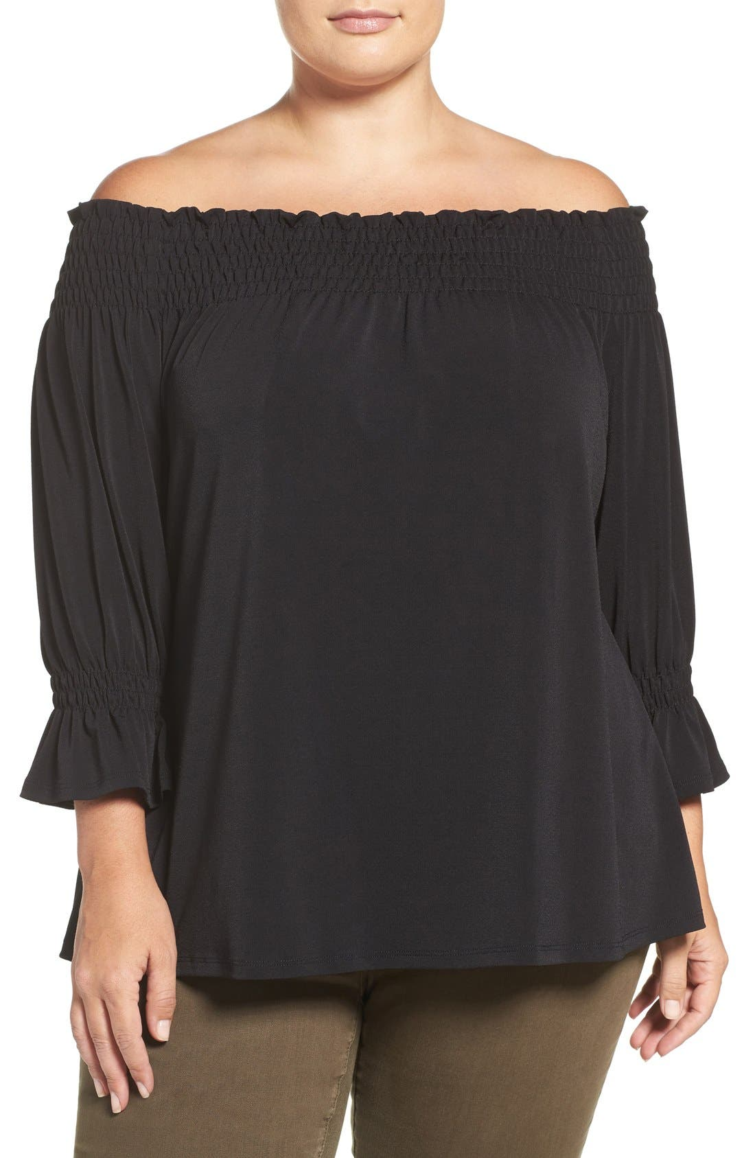 Smocked Off the Shoulder Top,                             Main thumbnail 1, color,