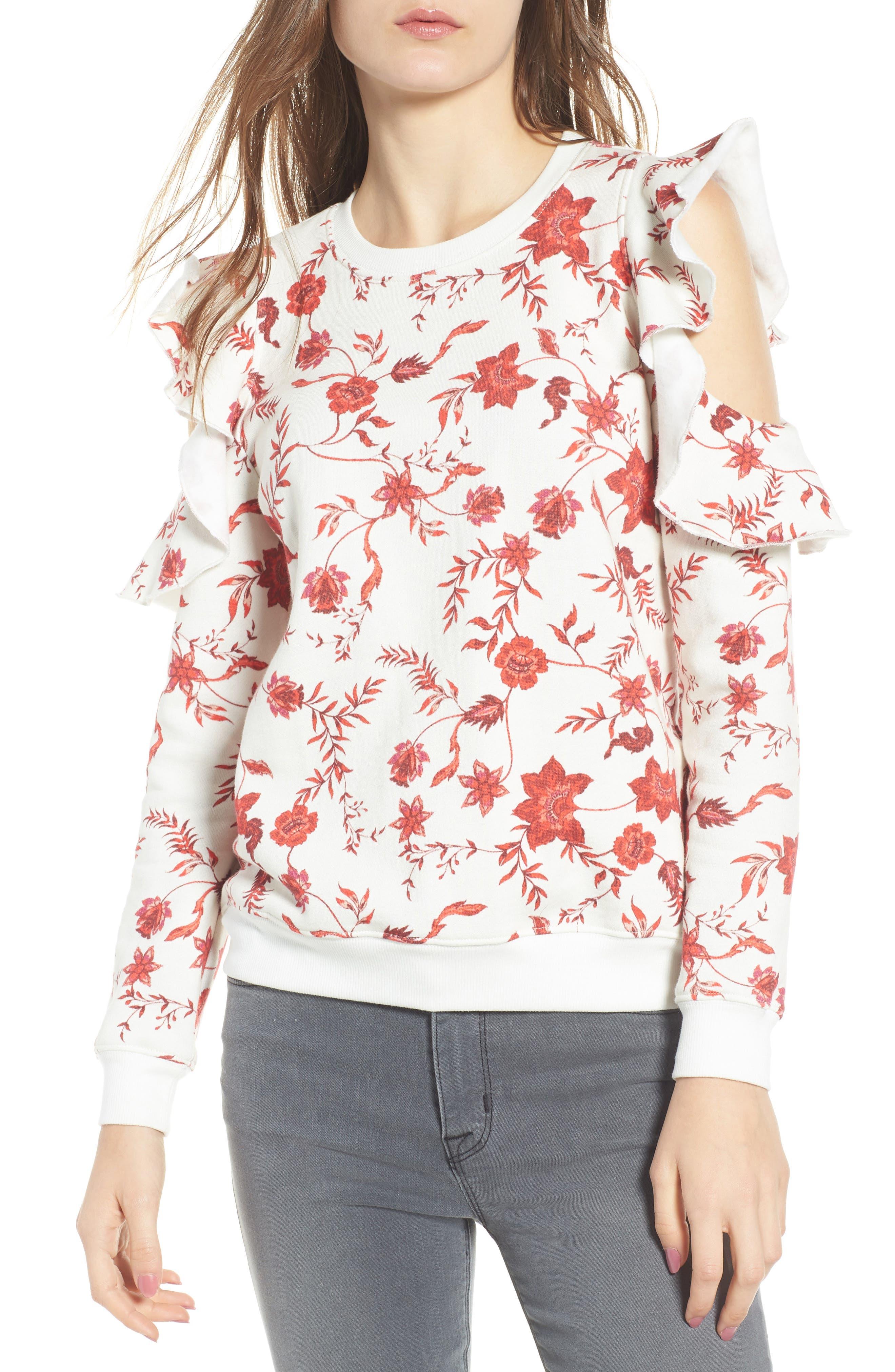 REBECCA MINKOFF,                             Gracie Cold Shoulder Floral Sweatshirt,                             Main thumbnail 1, color,                             900