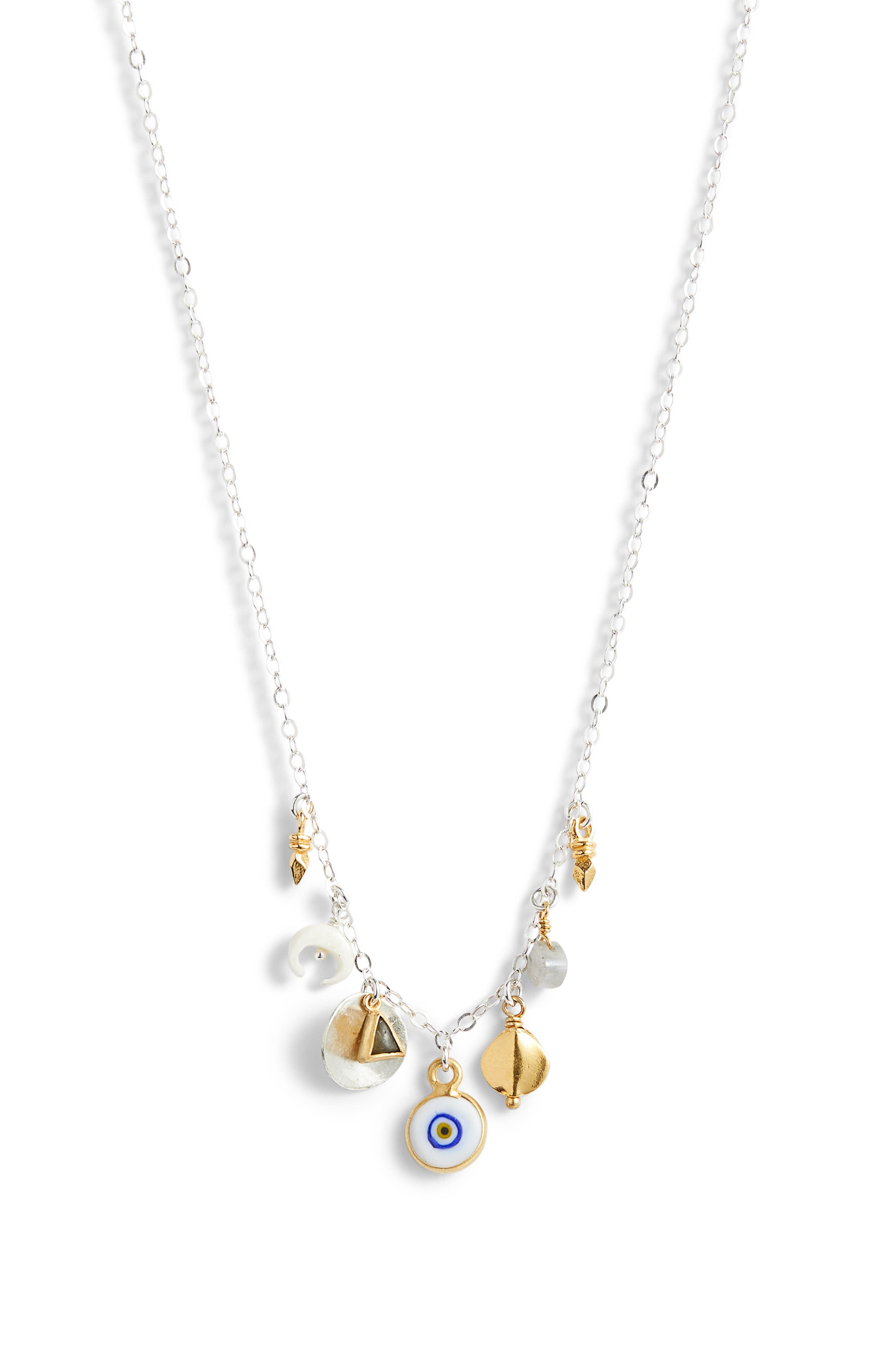 CHAN LUU Evil Eye Charm Necklace in White Mix