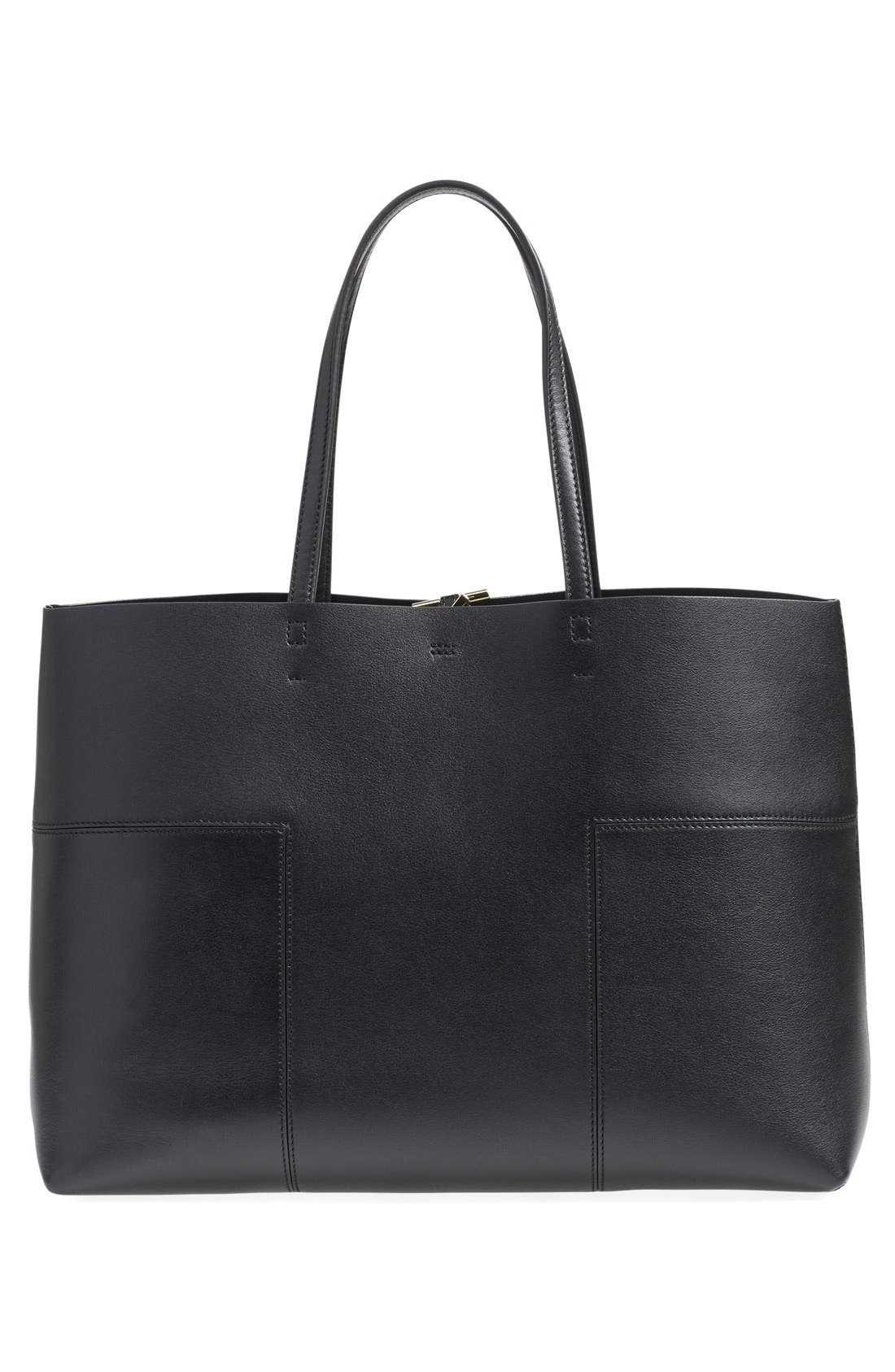 'Block-T' Leather Tote,                             Alternate thumbnail 3, color,                             001