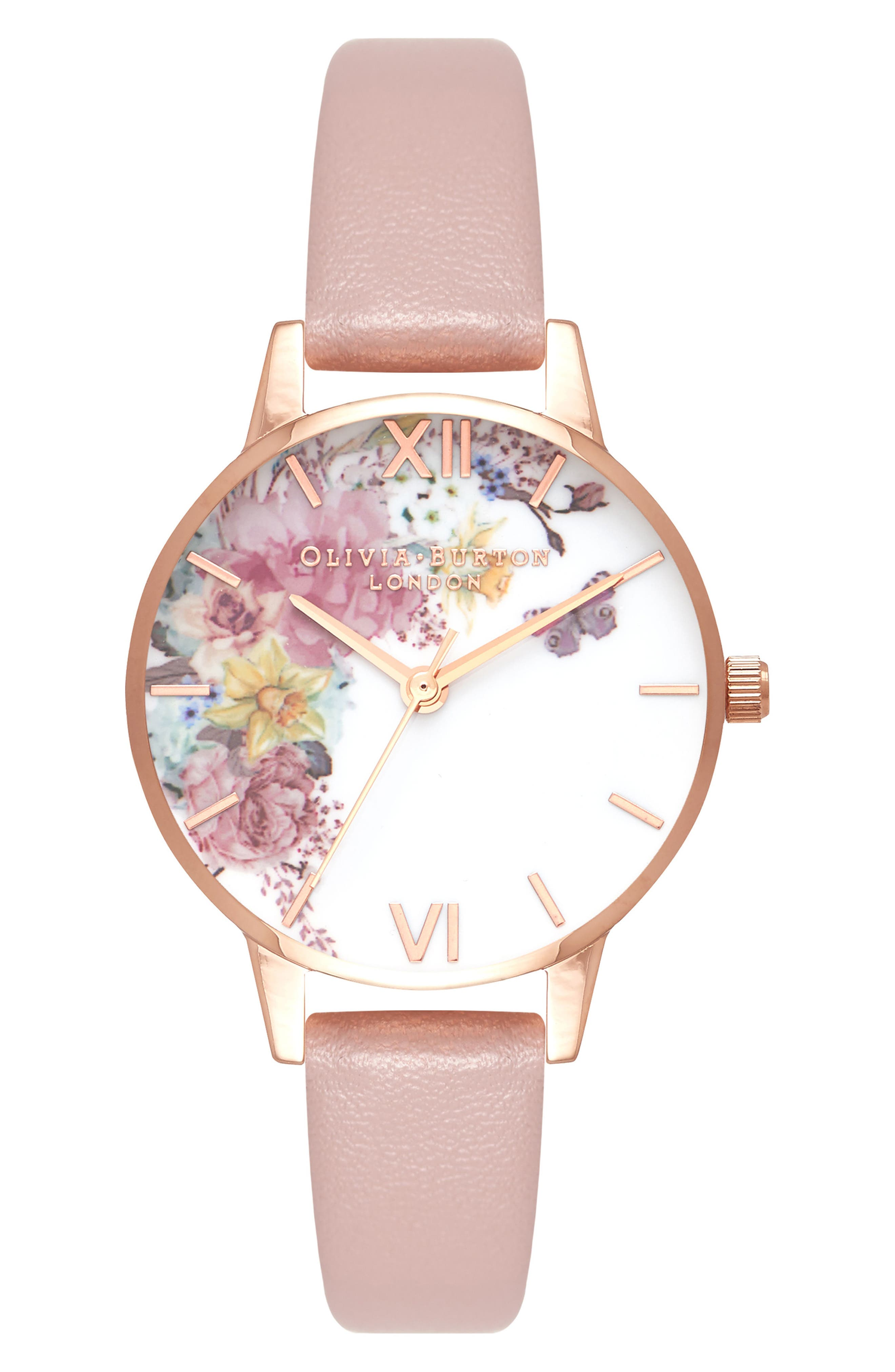 Enchanted Garden Faux Leather Strap Watch, 30mm,                             Main thumbnail 1, color,                             SAND/ FLORAL/ ROSE GOLD