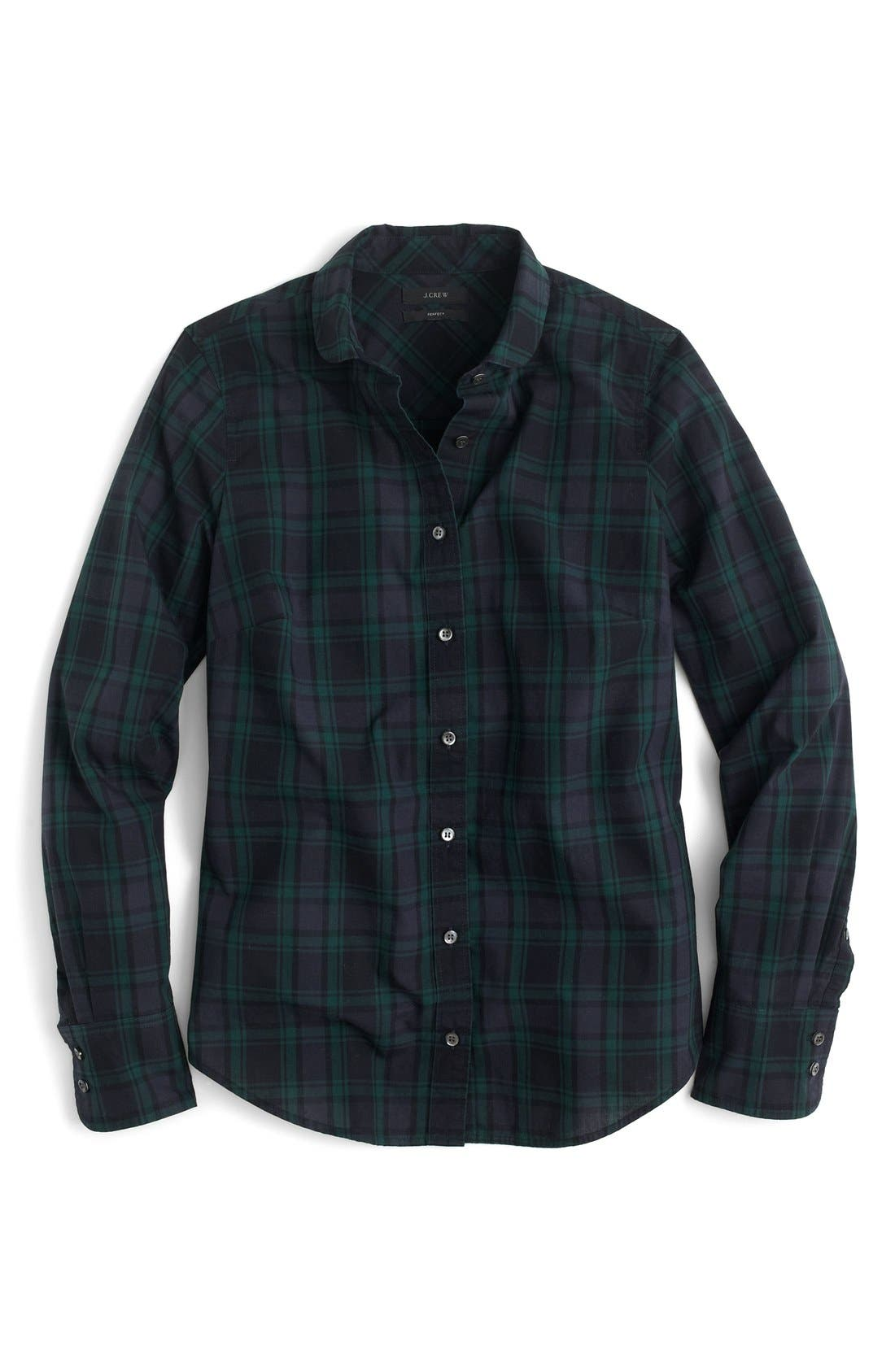 Perfect Club Collar Black Watch Plaid Shirt,                             Alternate thumbnail 3, color,                             300