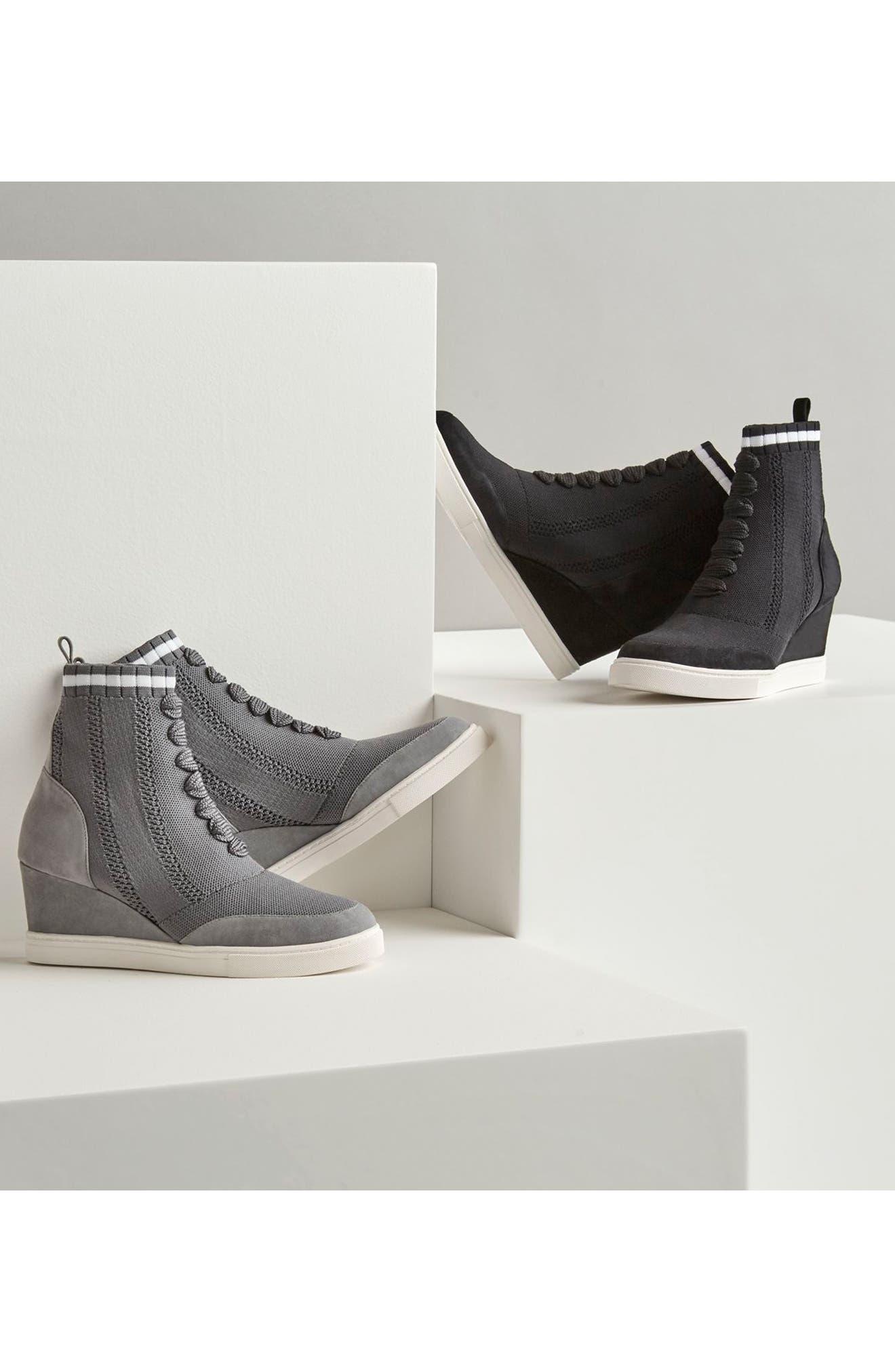 LINEA PAOLO,                             Fabiana Wedge Sneaker,                             Alternate thumbnail 8, color,                             BLACK SUEDE