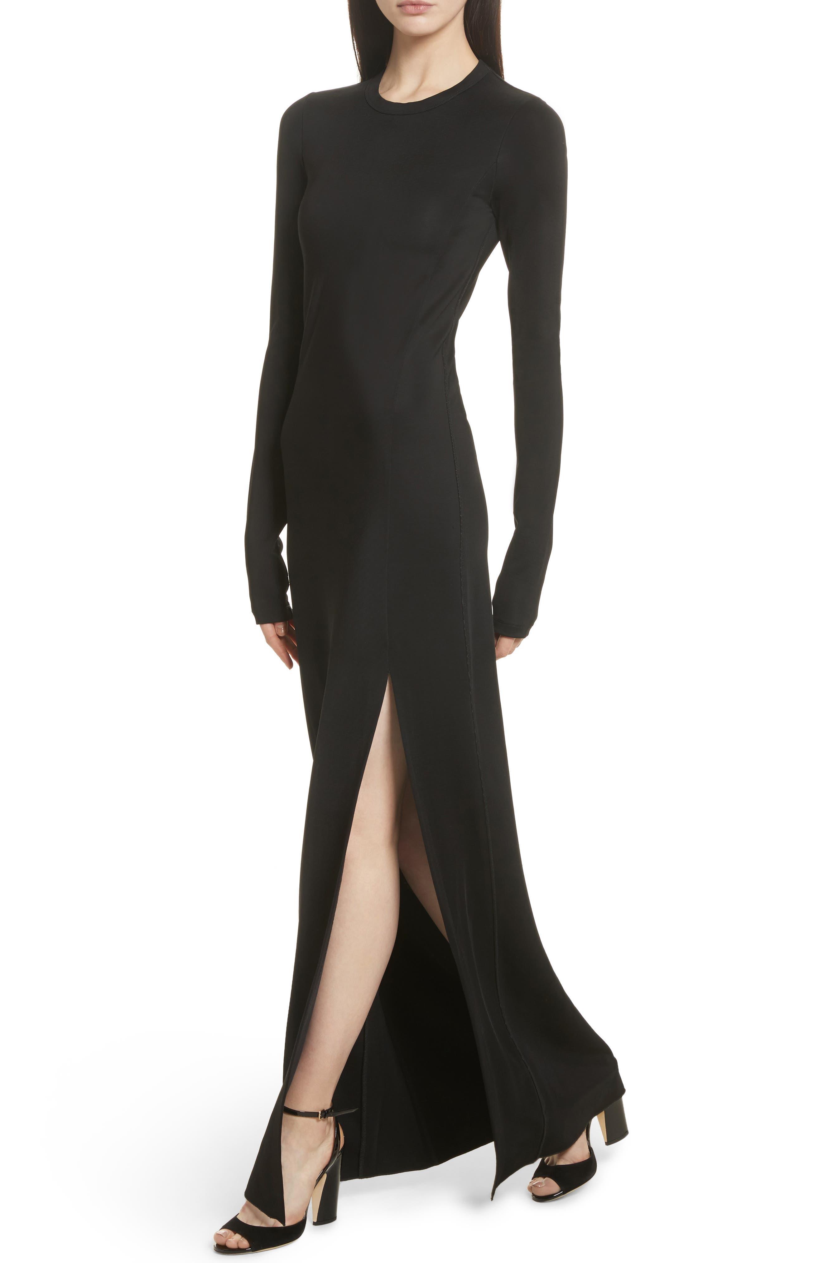 Fallon Slit Skirt Jersey Maxi Dress,                             Alternate thumbnail 4, color,                             001