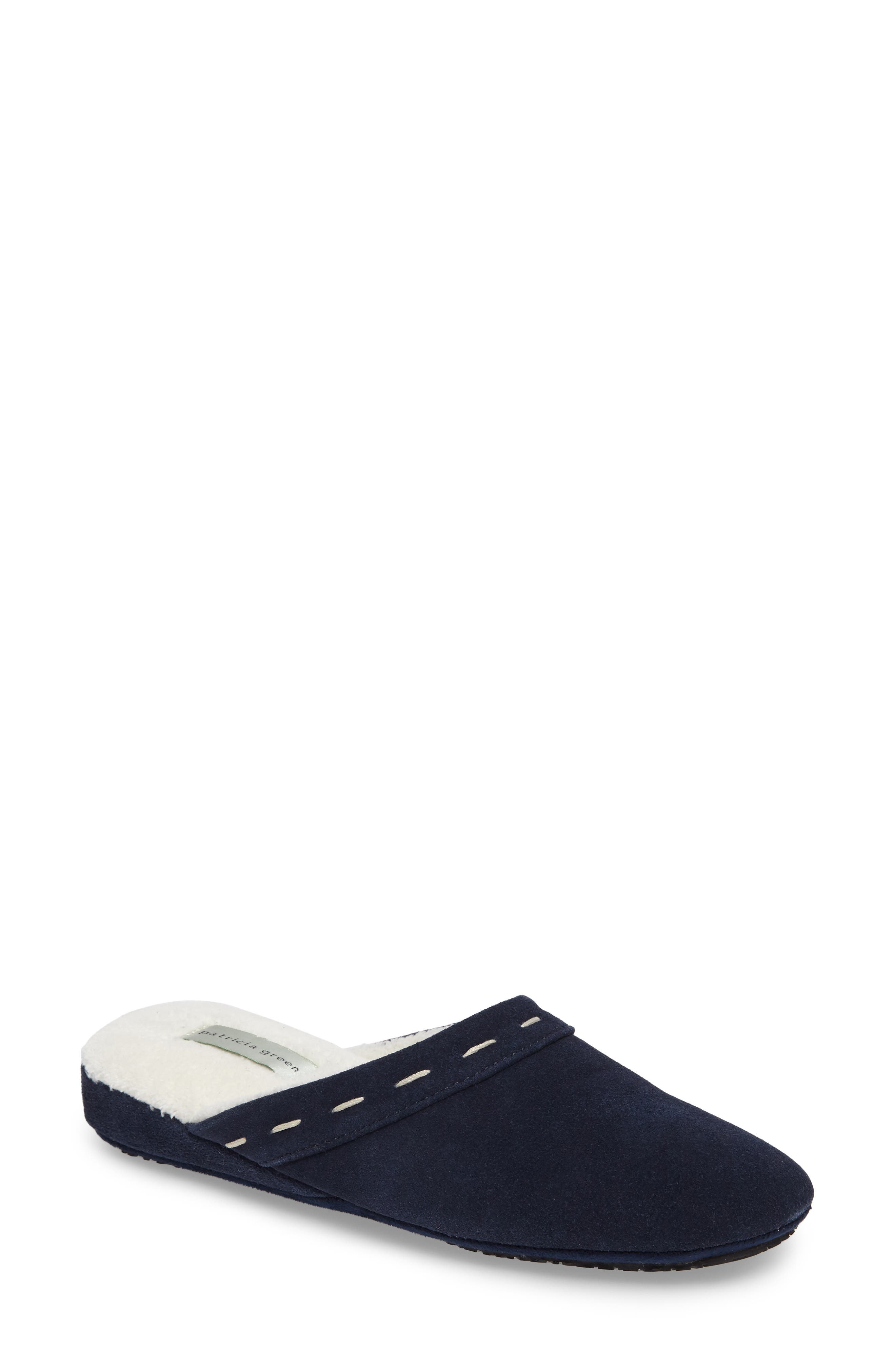 Mayfair Wedge Slipper,                             Main thumbnail 1, color,                             NAVY SUEDE