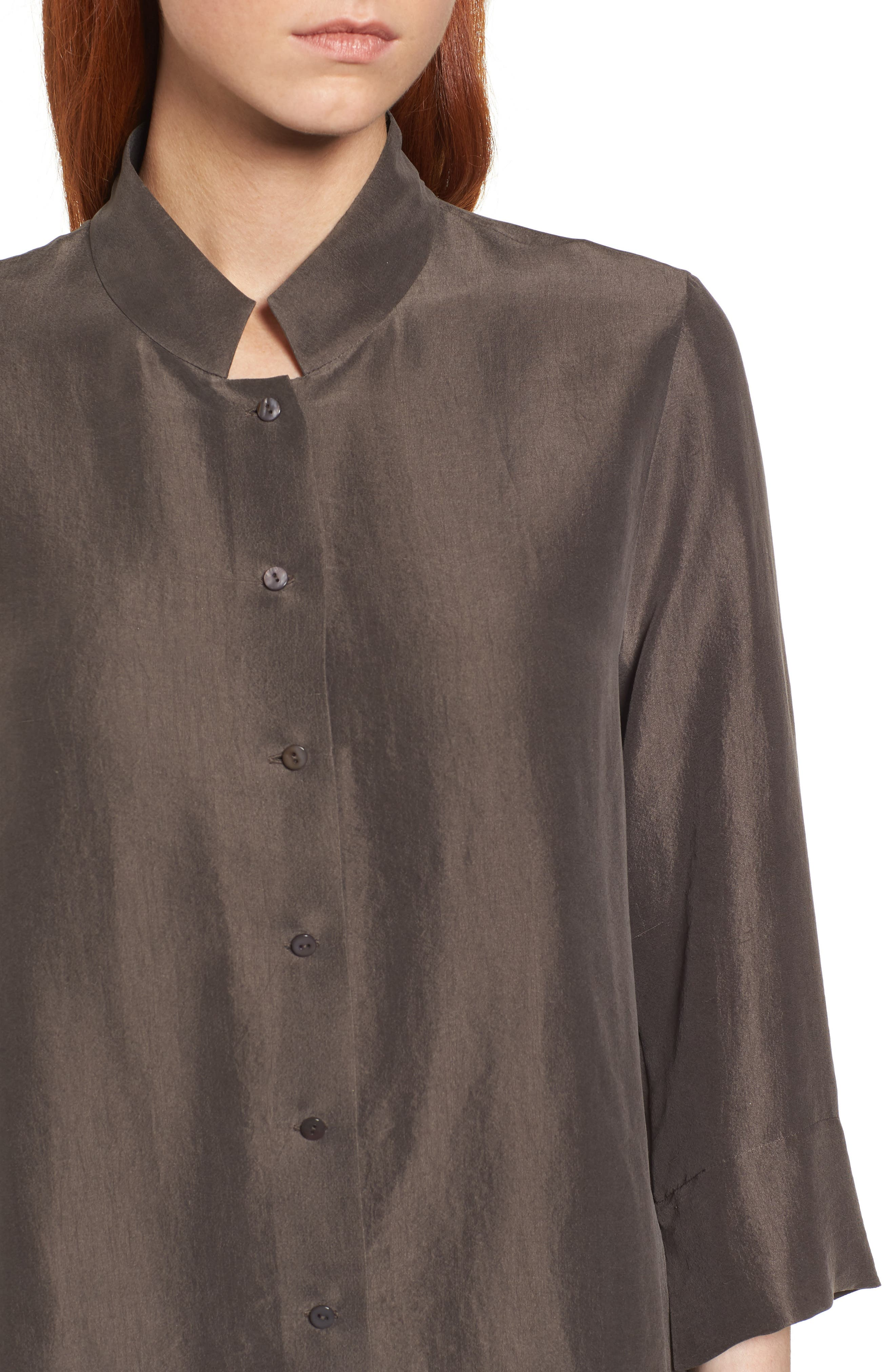 Silk Georgette Crepe Stand Collar Shirt,                             Alternate thumbnail 4, color,                             024
