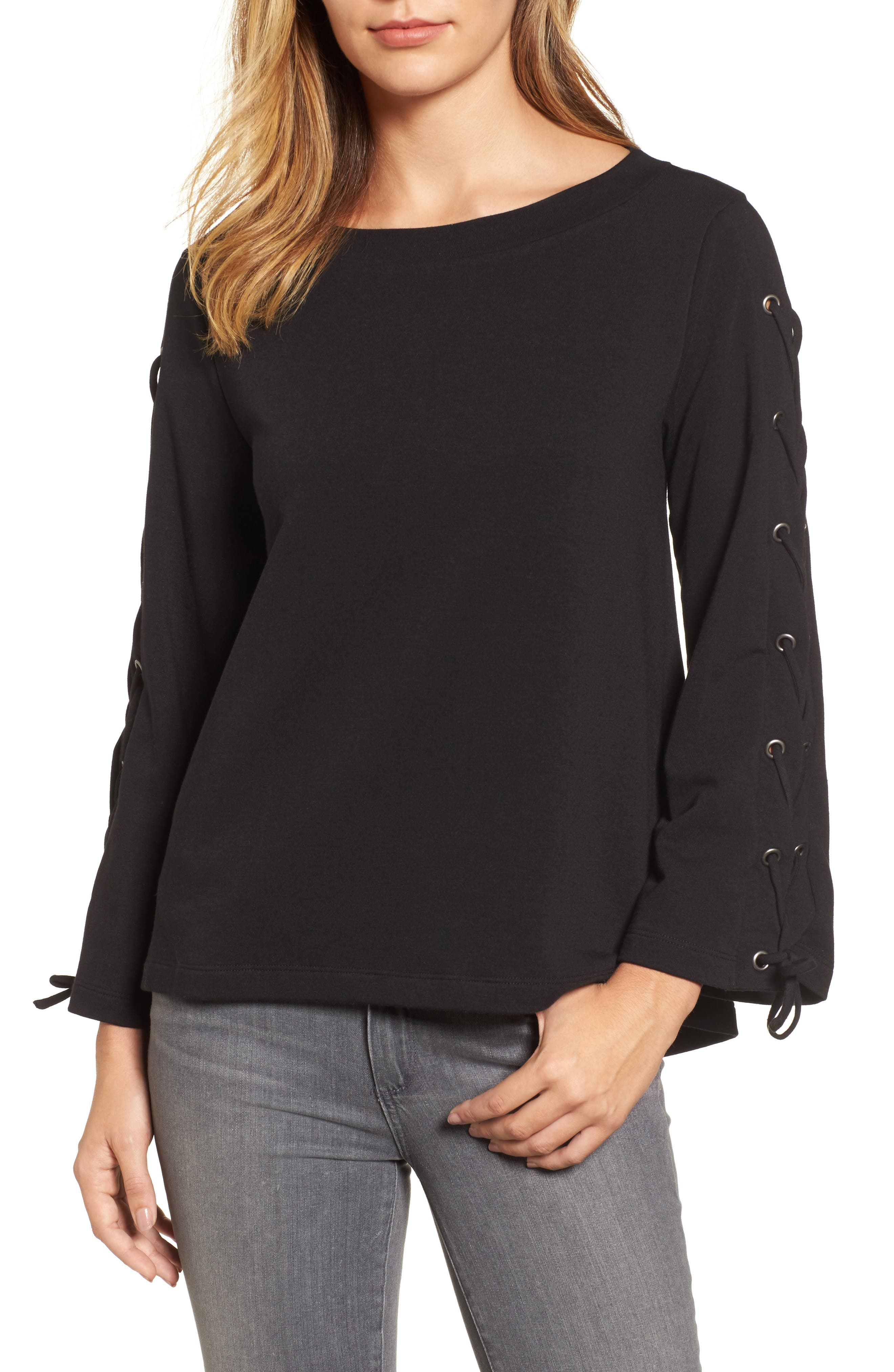 Wide Neck Lace-Up Sleeve Top,                             Main thumbnail 1, color,                             001