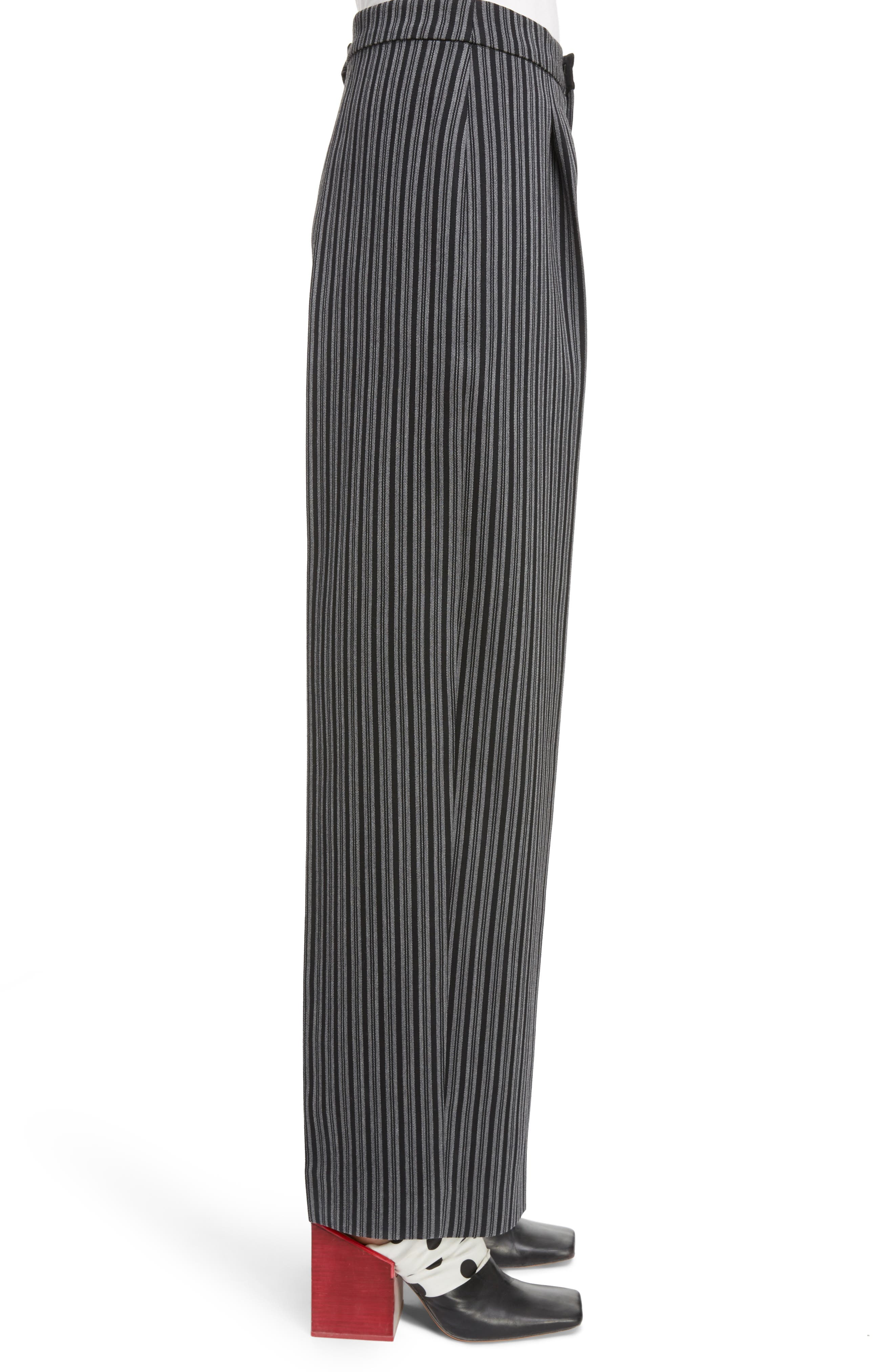 Pinstripe Pleated Wide Leg Wool Pants,                             Alternate thumbnail 3, color,