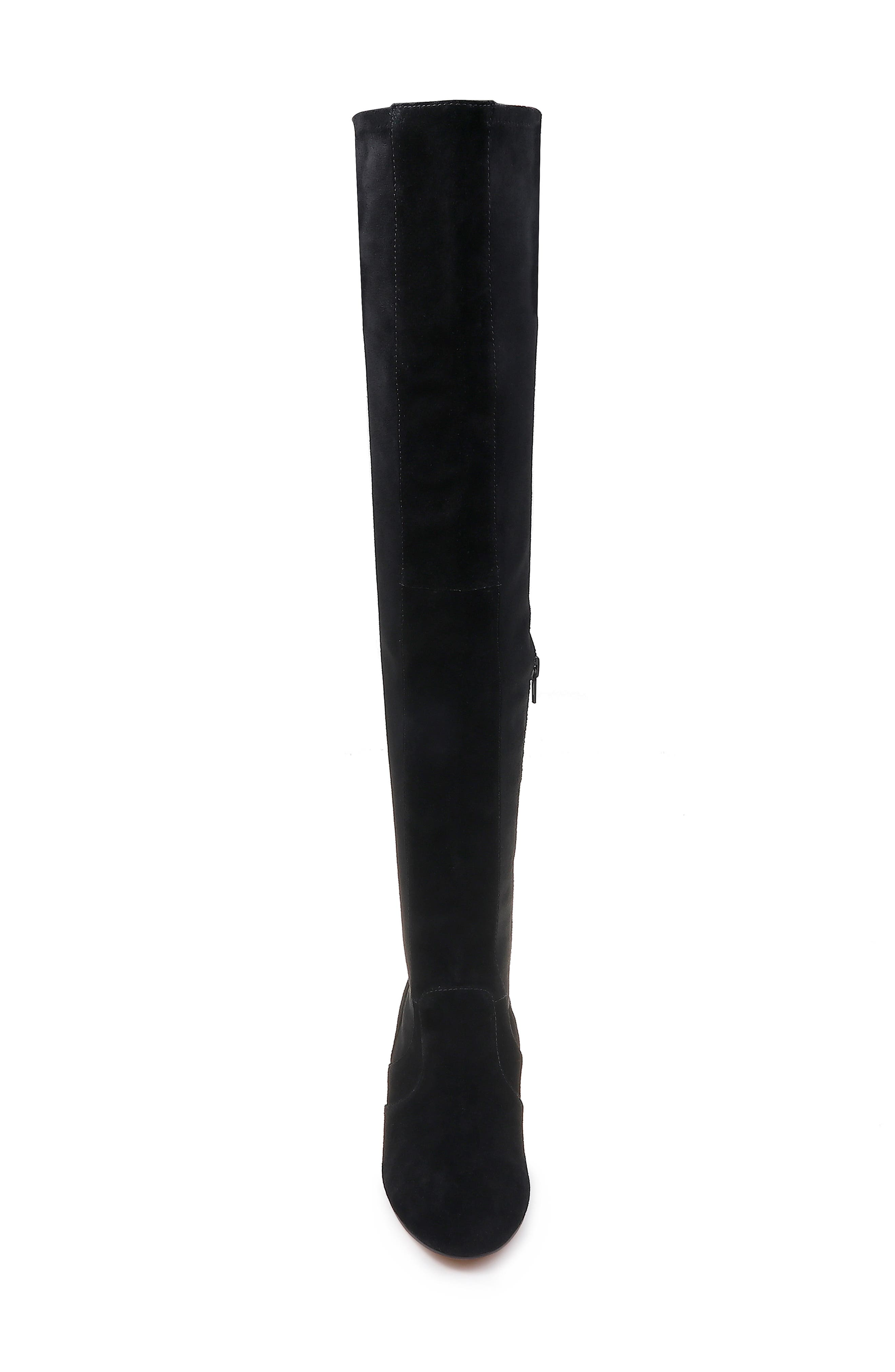 Over the Knee Stretch Back Boot,                             Alternate thumbnail 4, color,                             BLACK SUEDE