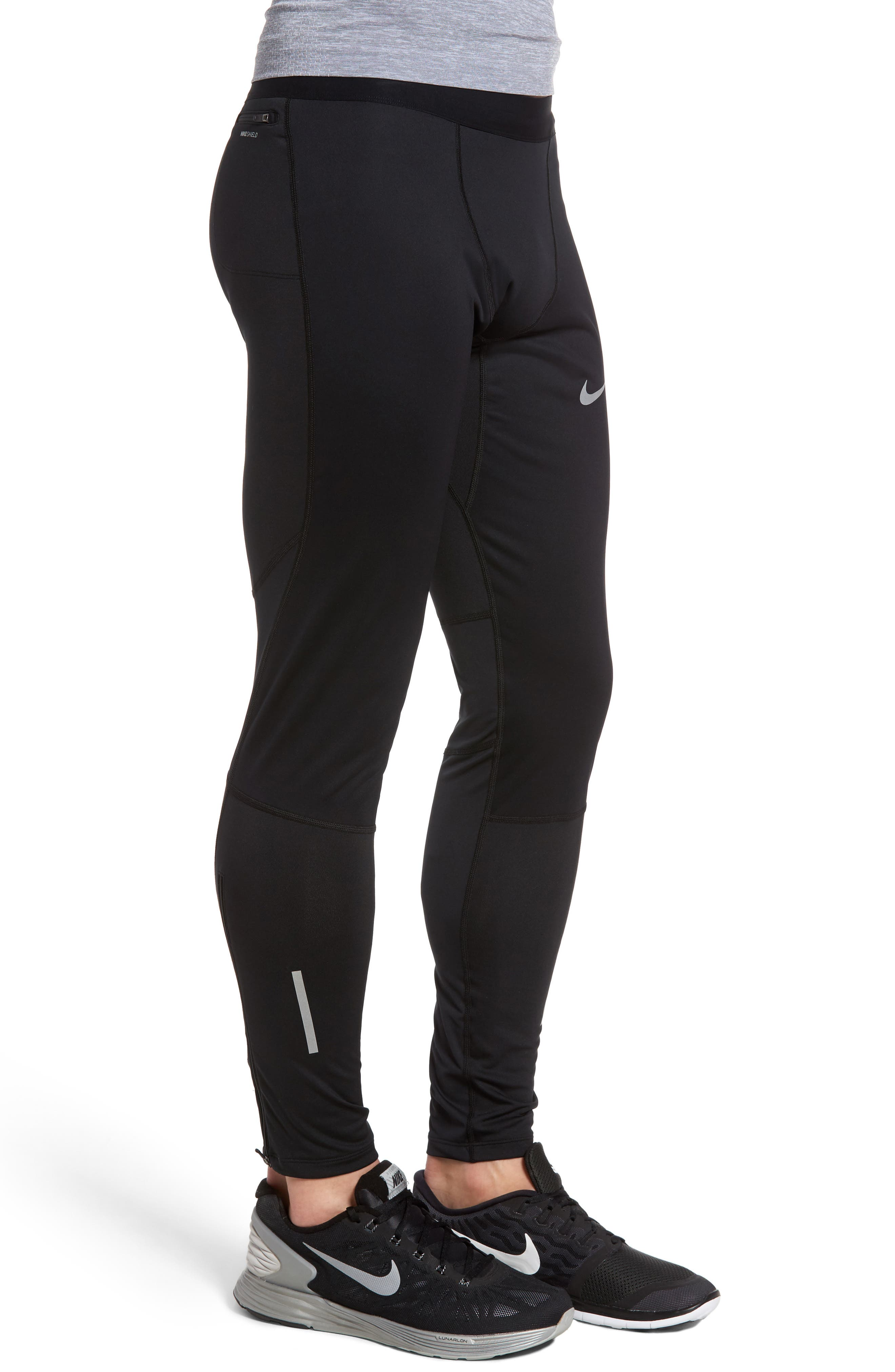 Shield Tech Weather Resistant Running Tights,                             Alternate thumbnail 3, color,                             010