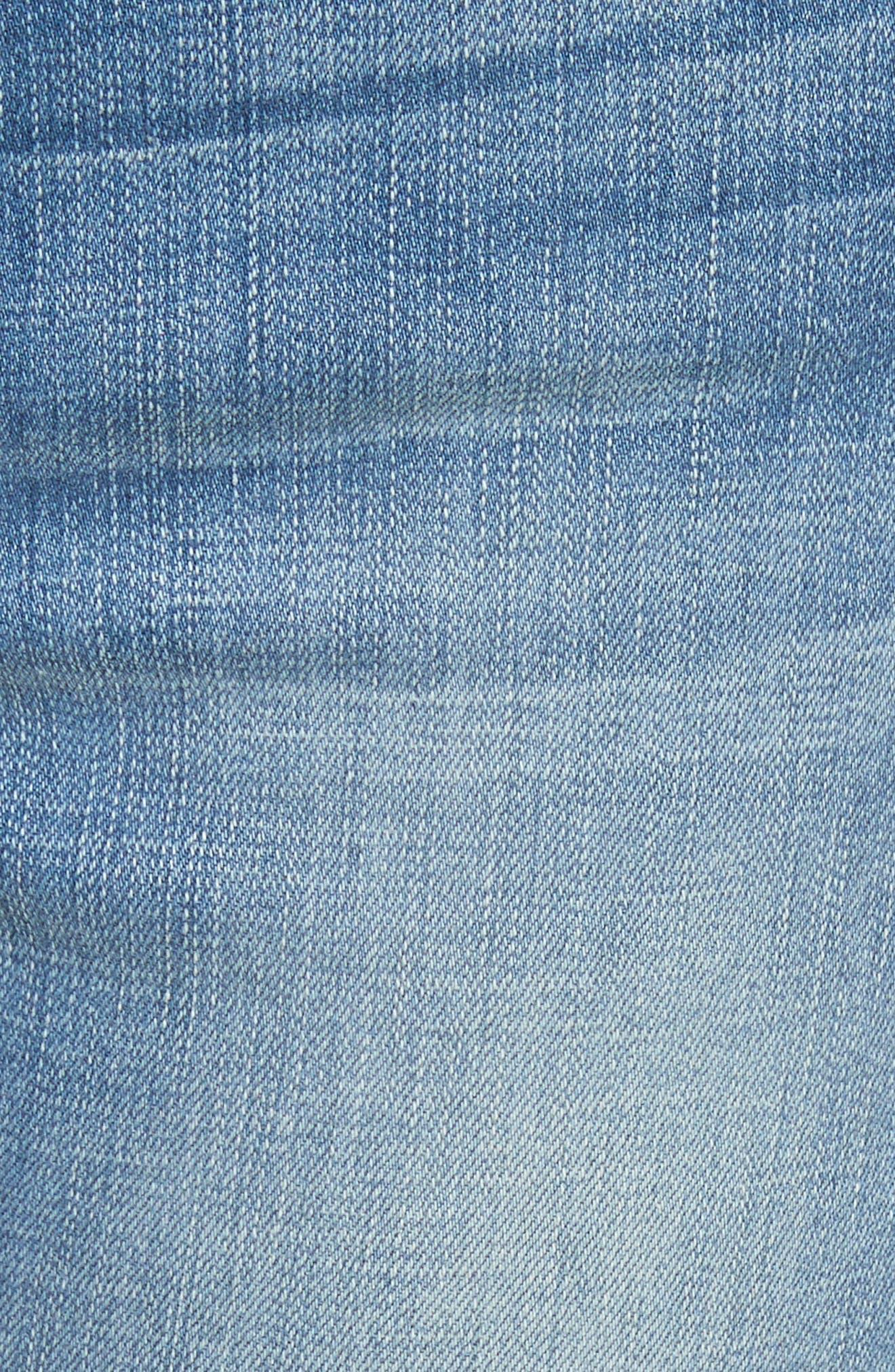 Le High Straight High Waist Triangle Hem Jeans,                             Alternate thumbnail 6, color,                             450