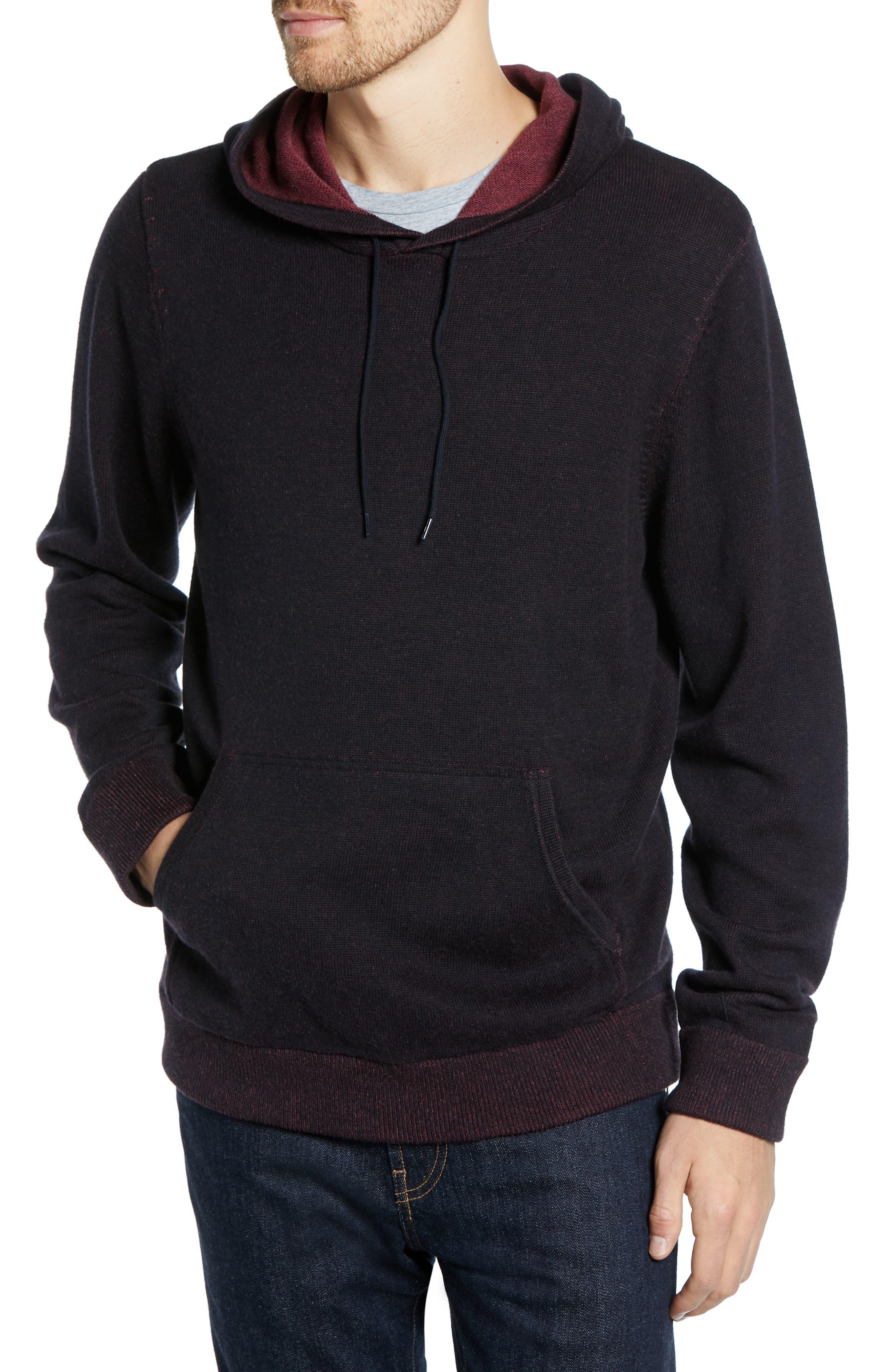 Regular Fit Cotton & Cashmere Hoodie,                             Main thumbnail 1, color,                             BLACK CAVIAR