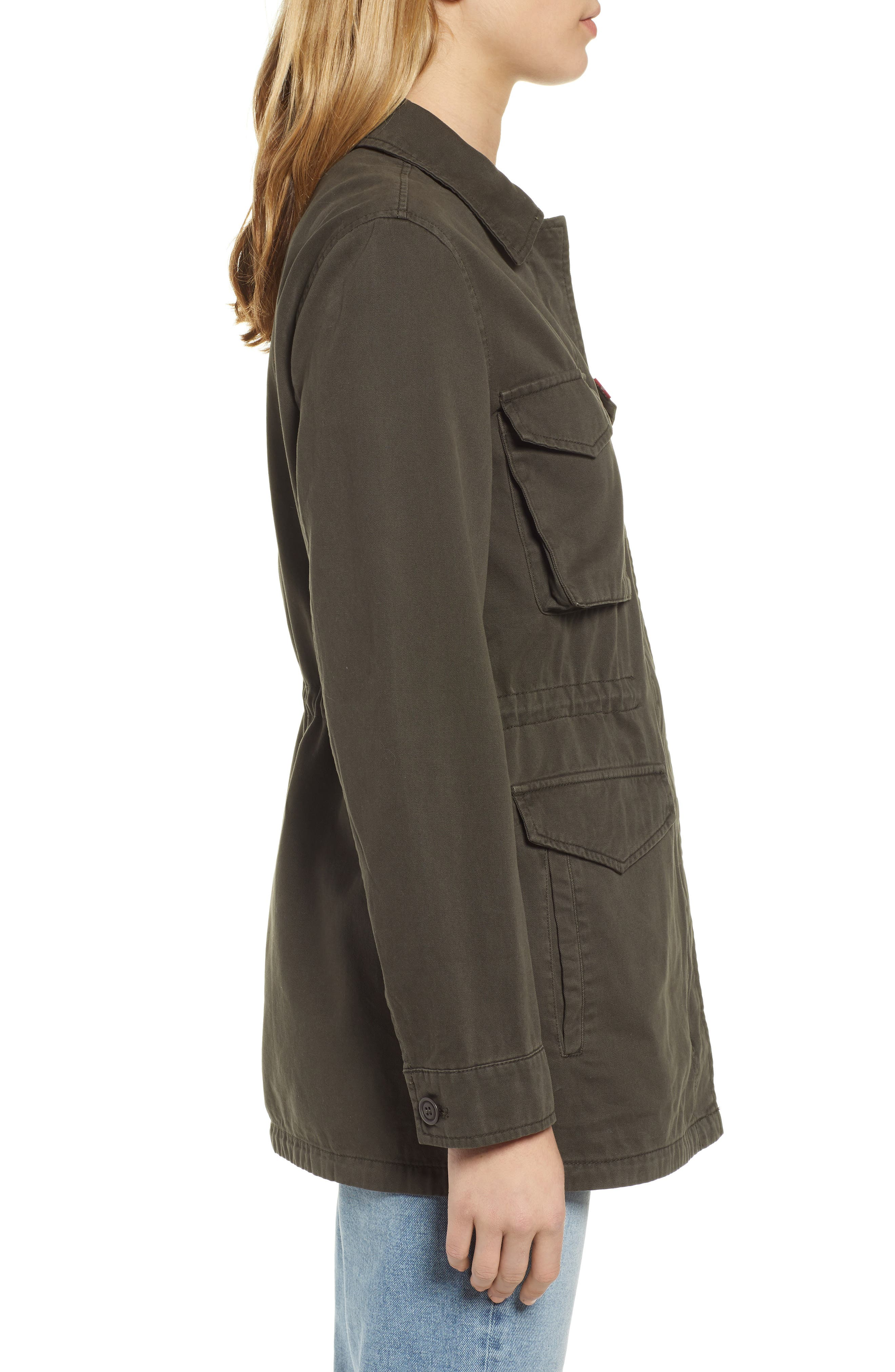 Cotton Oversize Military Jacket,                             Alternate thumbnail 3, color,                             OLIVE