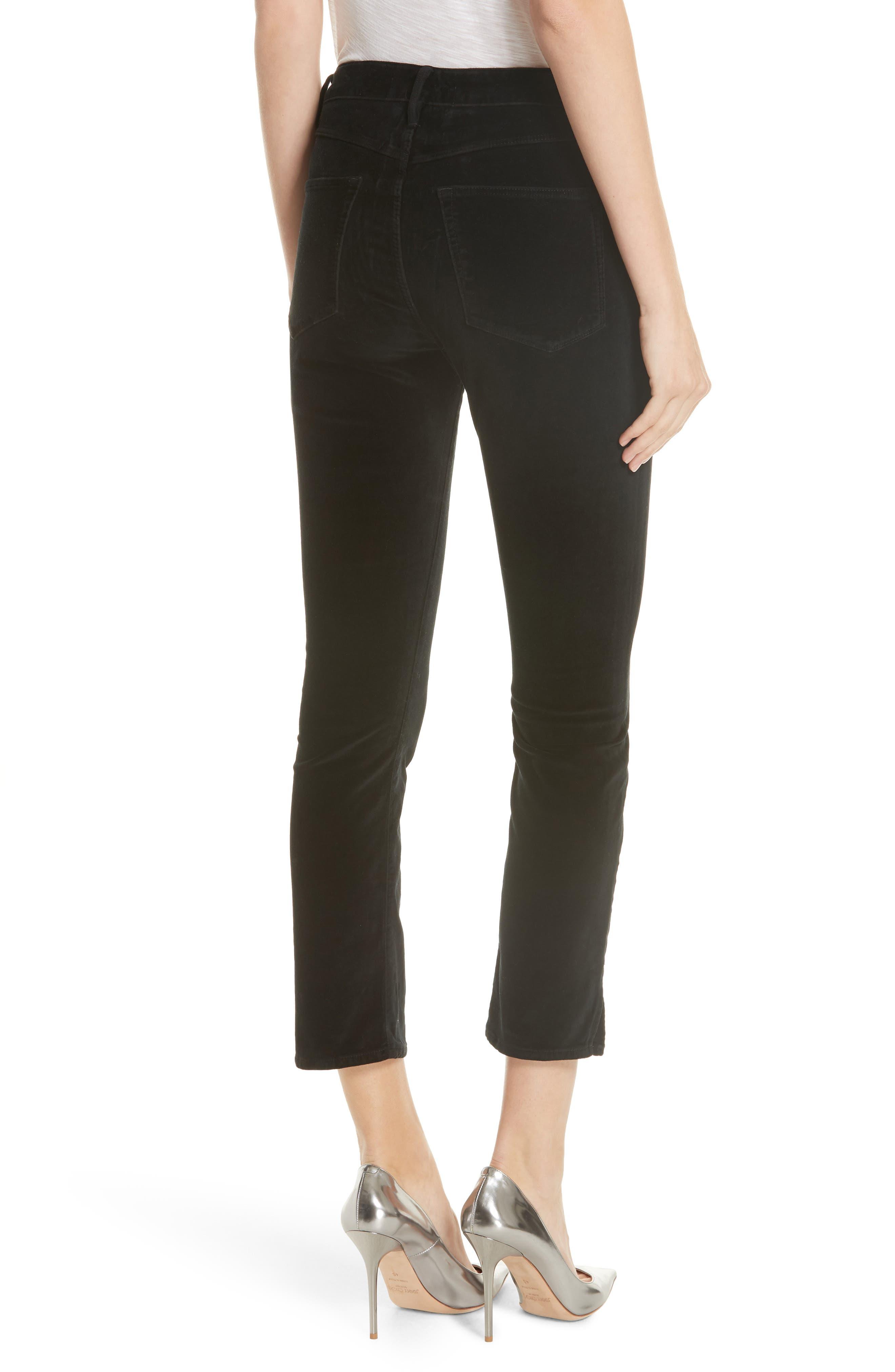W3 Higher Ground Mini Split Ankle Velvet Jeans,                             Alternate thumbnail 2, color,                             EBONY EBONY