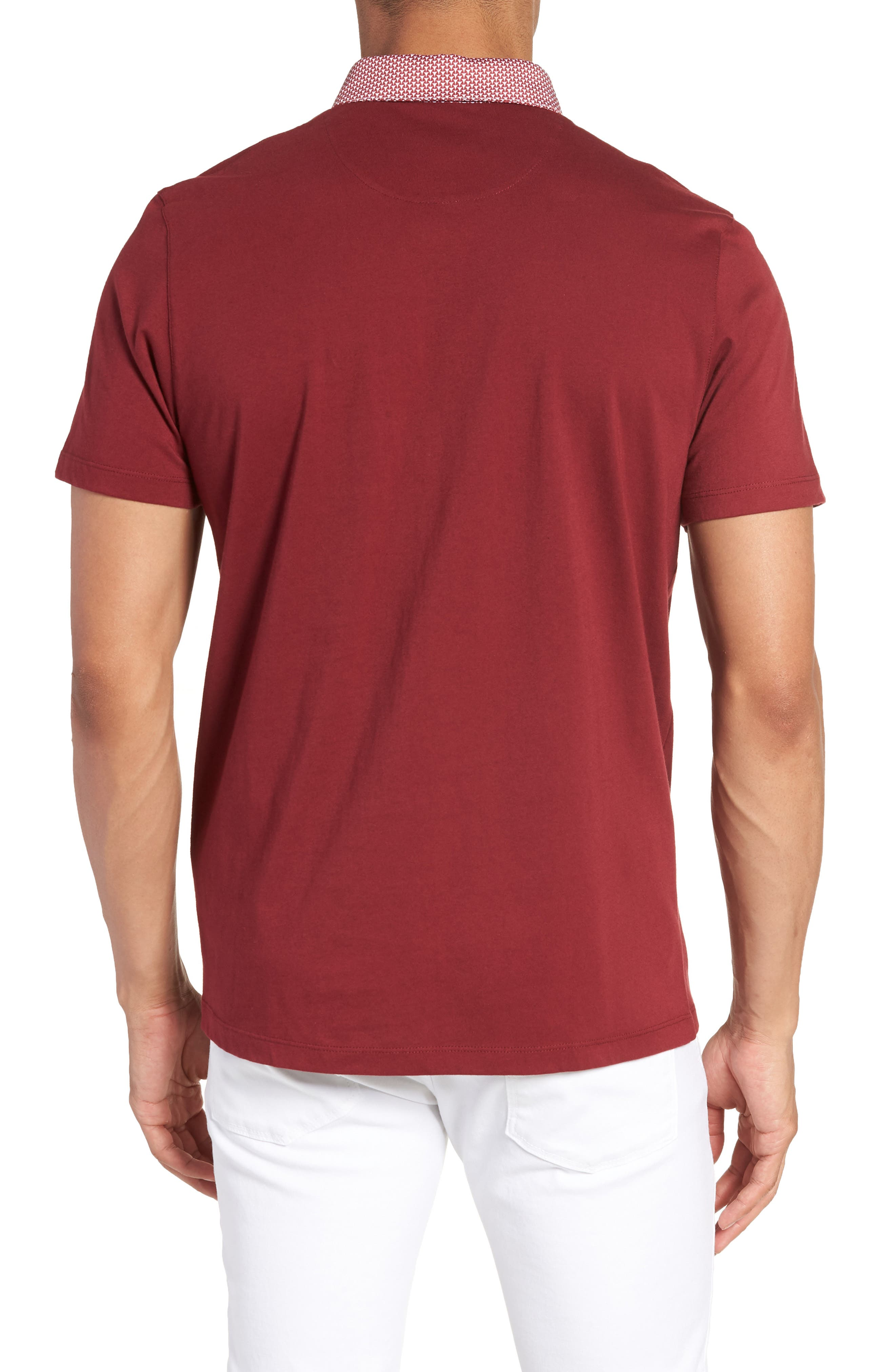 Movey Trim Fit Woven Geo Polo,                             Alternate thumbnail 8, color,
