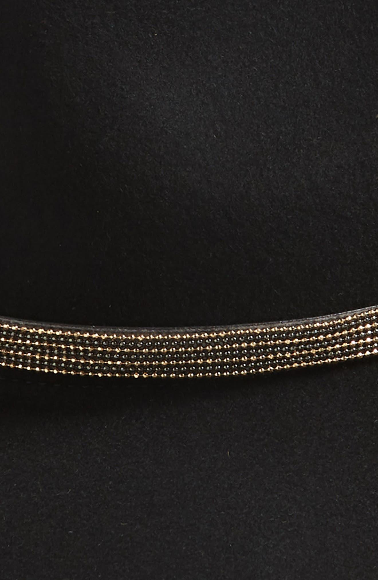 Beaded Chain Wool Felt Panama Hat,                             Alternate thumbnail 2, color,                             001