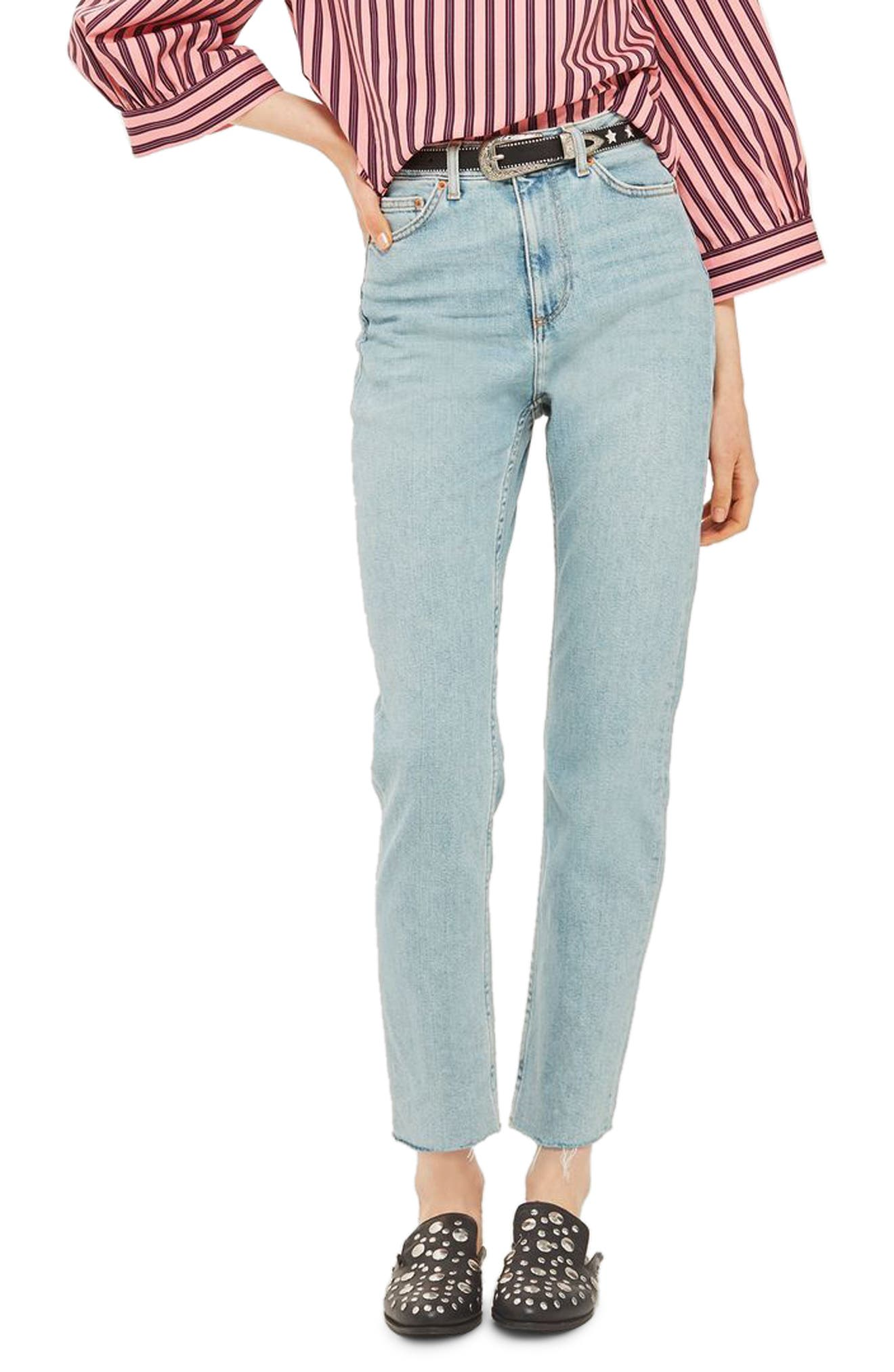 Vintage Bleach Raw Hem Straight Leg Jeans,                         Main,                         color, 420