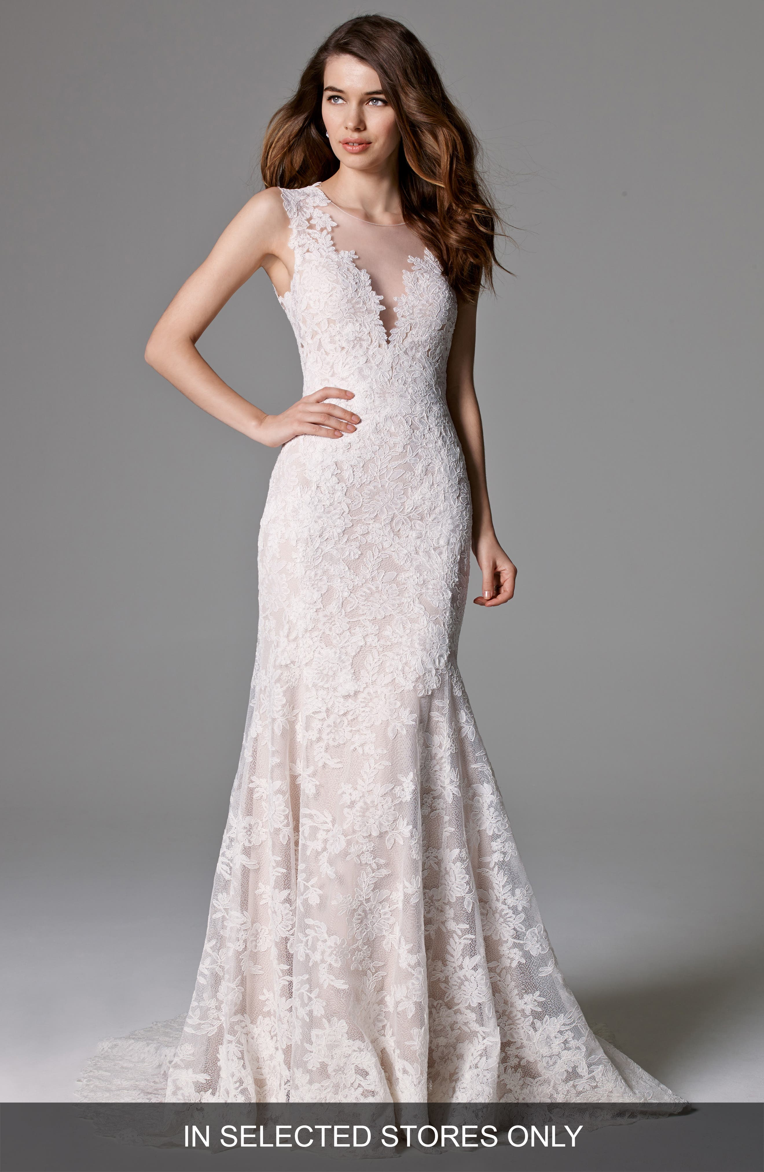Ashland Lace Mermaid Gown,                             Main thumbnail 1, color,                             IVORY
