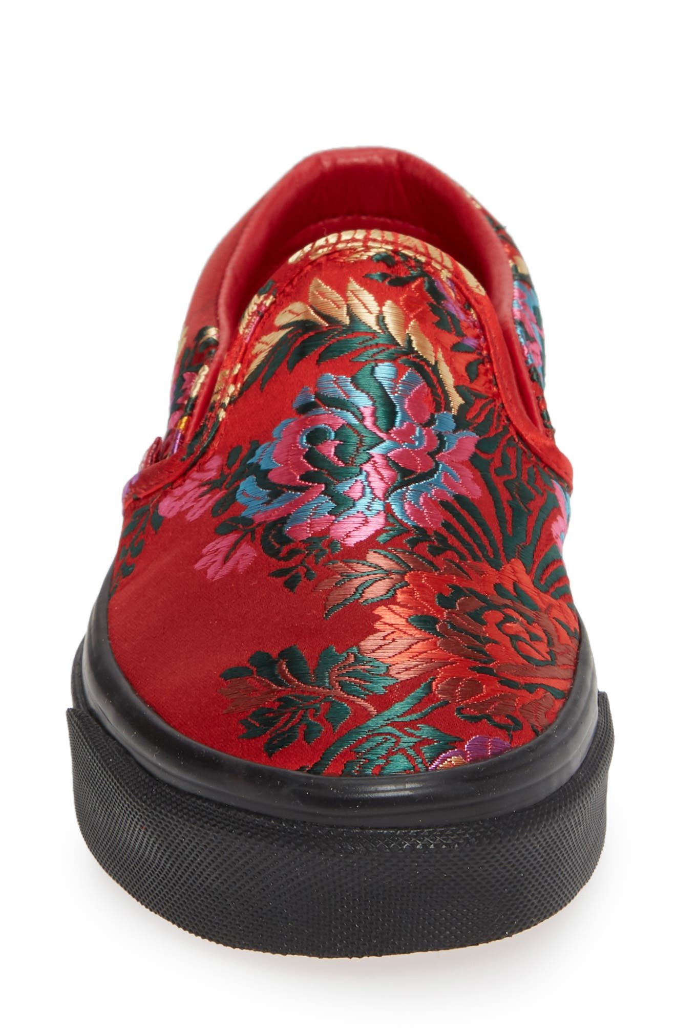 Classic Embroidered Satin Slip-On Sneaker,                             Alternate thumbnail 4, color,                             RED/ BLACK