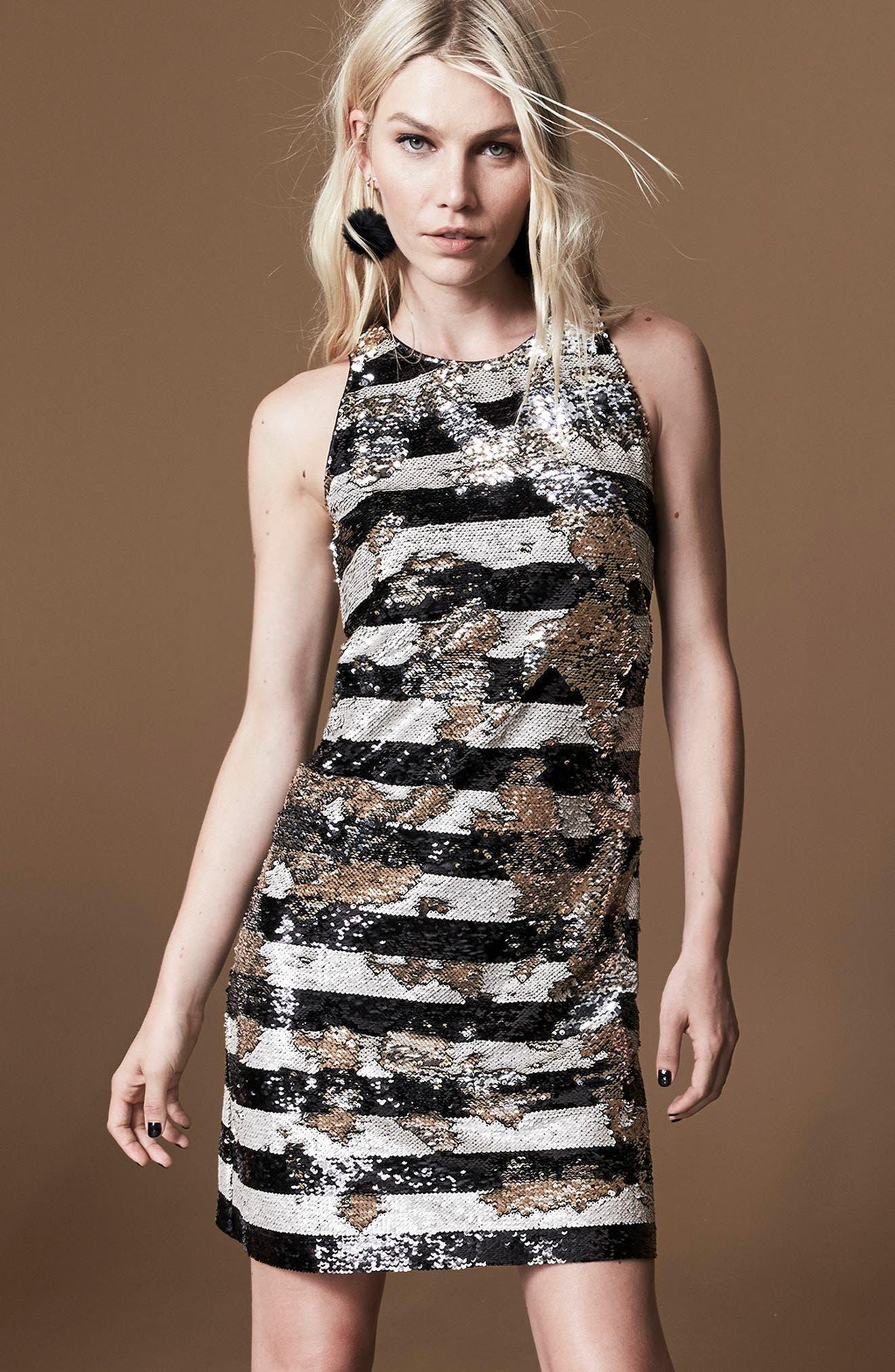 Reversible Stripe Sequin Shift Dress,                             Alternate thumbnail 7, color,                             006