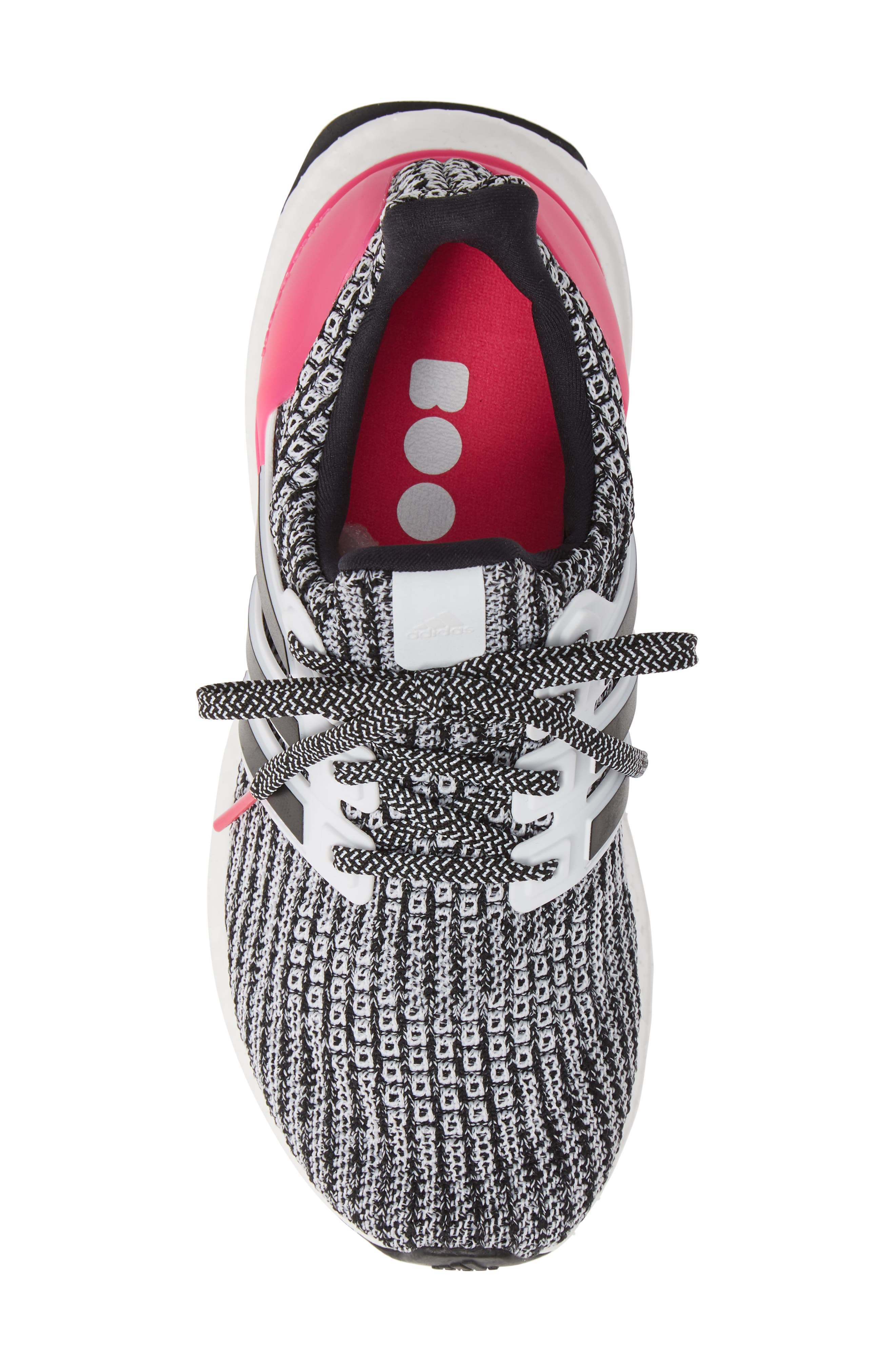 UltraBoost Sneaker,                             Alternate thumbnail 5, color,                             WHITE/ BLACK/ SHOCK PINK
