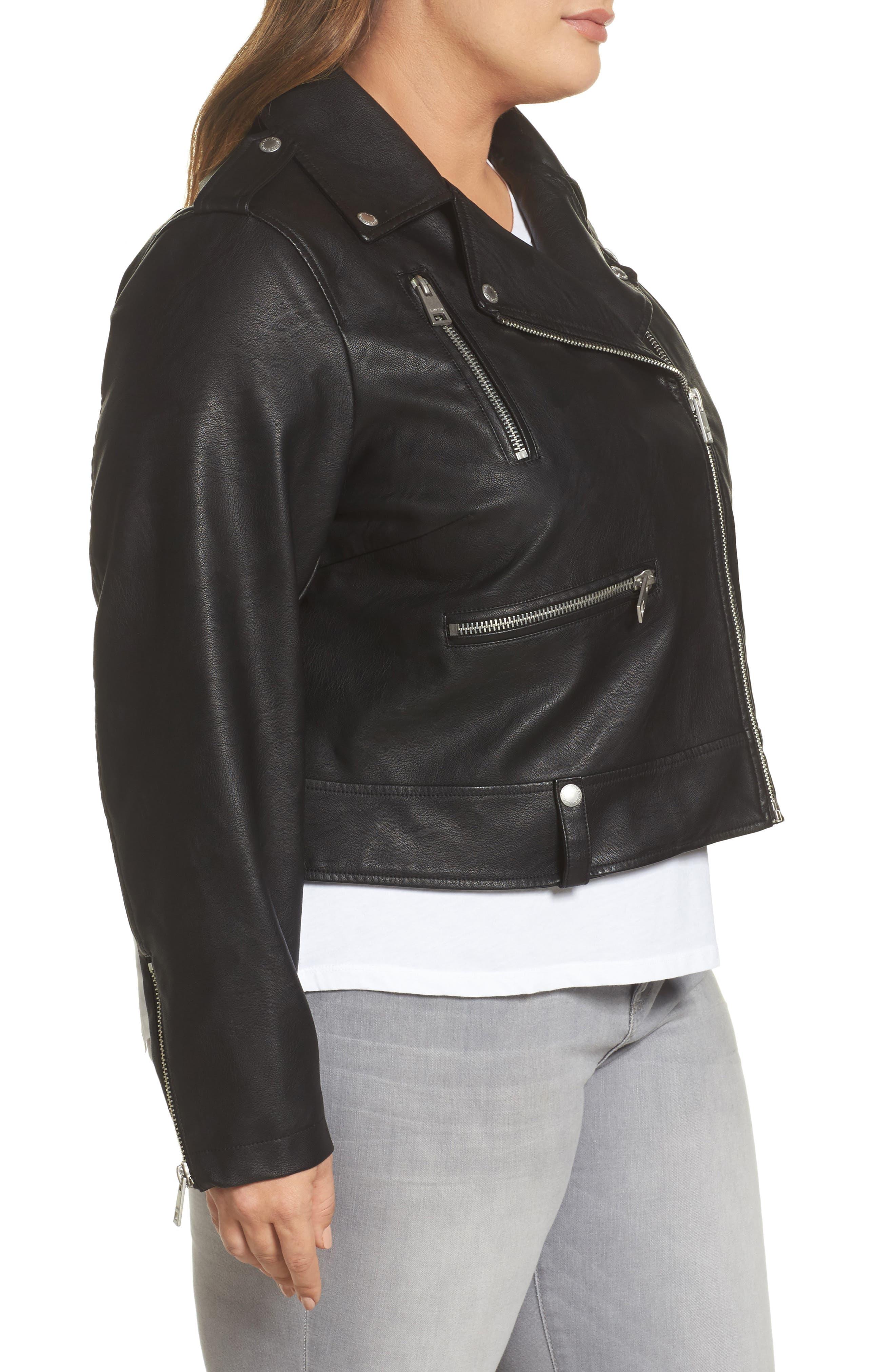 Lamb Touch Faux Leather Moto Jacket,                             Alternate thumbnail 3, color,                             BLACK