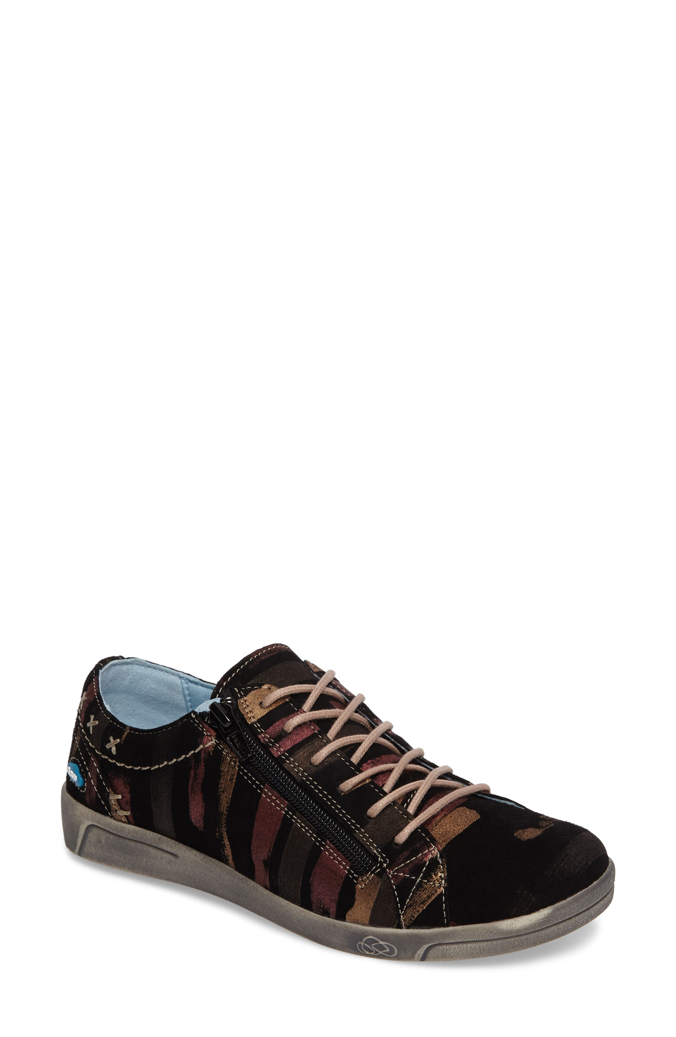 Aika Low Top Sneaker,                             Main thumbnail 1, color,                             BLACK LEATHER