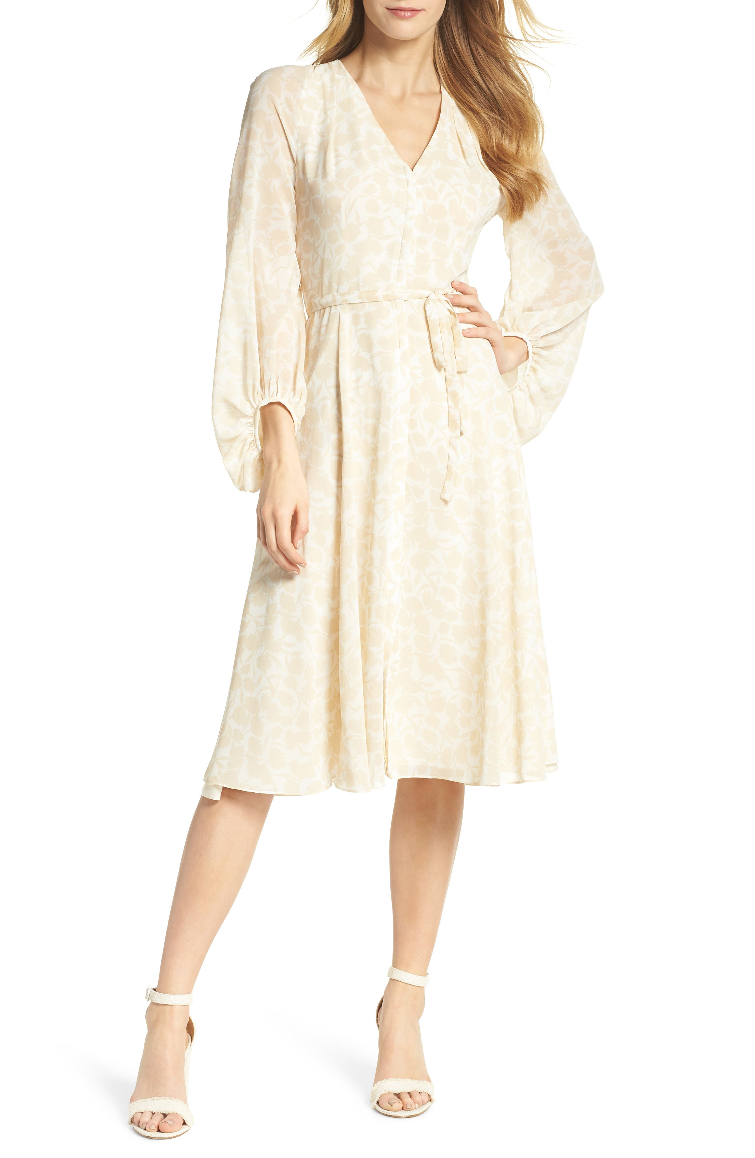 1930s Dresses | 30s Art Deco Dress Womens Gal Meets Glam Collection Esther Shadow Branch Chiffon Dress Size 16 - Ivory $106.80 AT vintagedancer.com