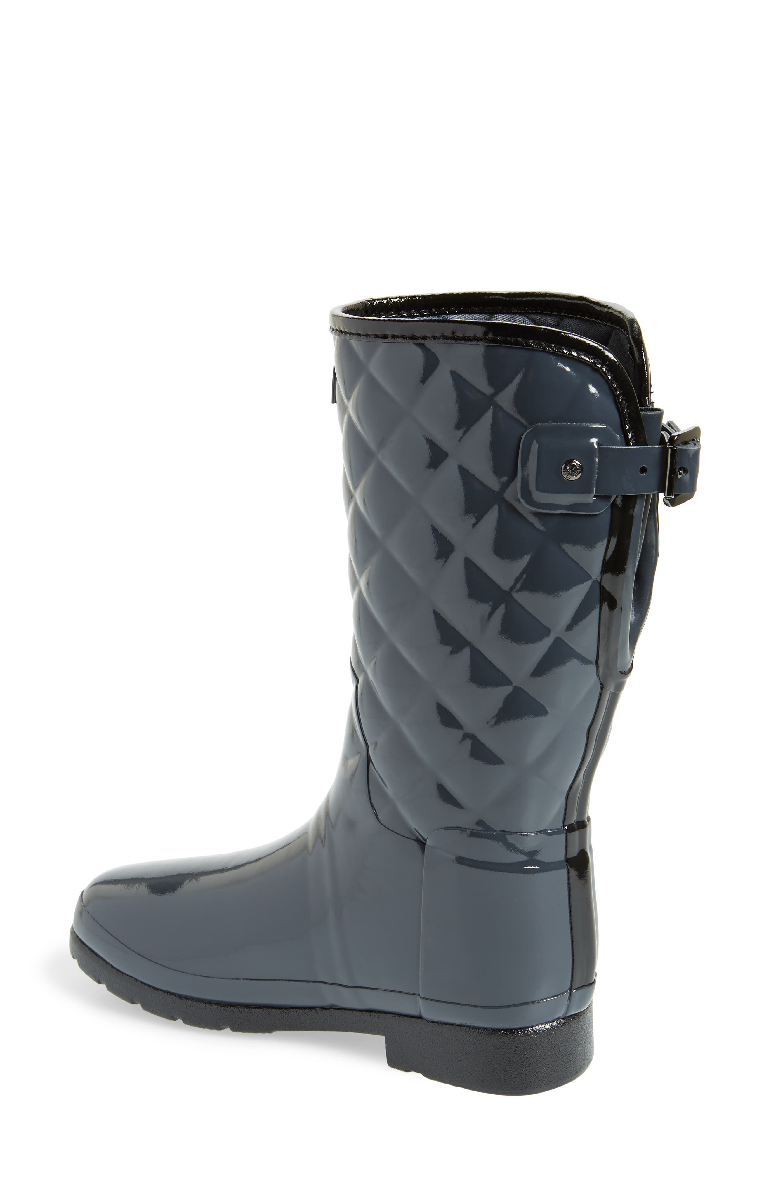 Refined High Gloss Quilted Short Waterproof Rain Boot,                             Alternate thumbnail 2, color,                             DARK SLATE