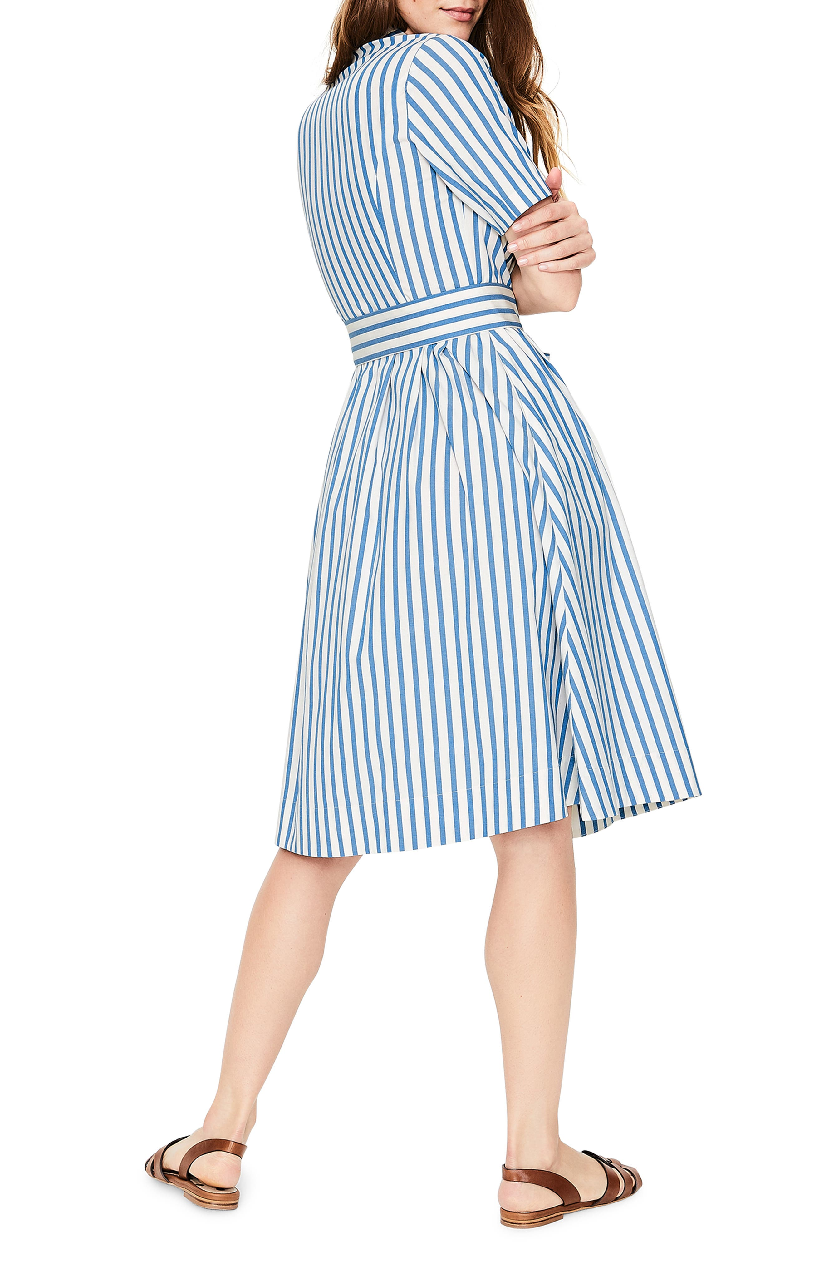 Anastasia Tie Front Shirtdress,                             Alternate thumbnail 2, color,                             IVORY AND CYAN STRIPE
