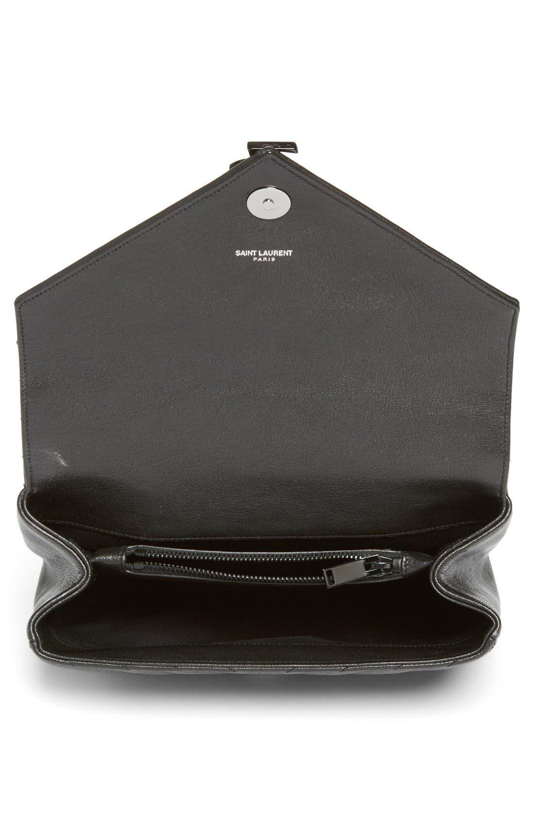 'Medium College' Quilted Leather Shoulder Bag,                             Alternate thumbnail 6, color,                             001