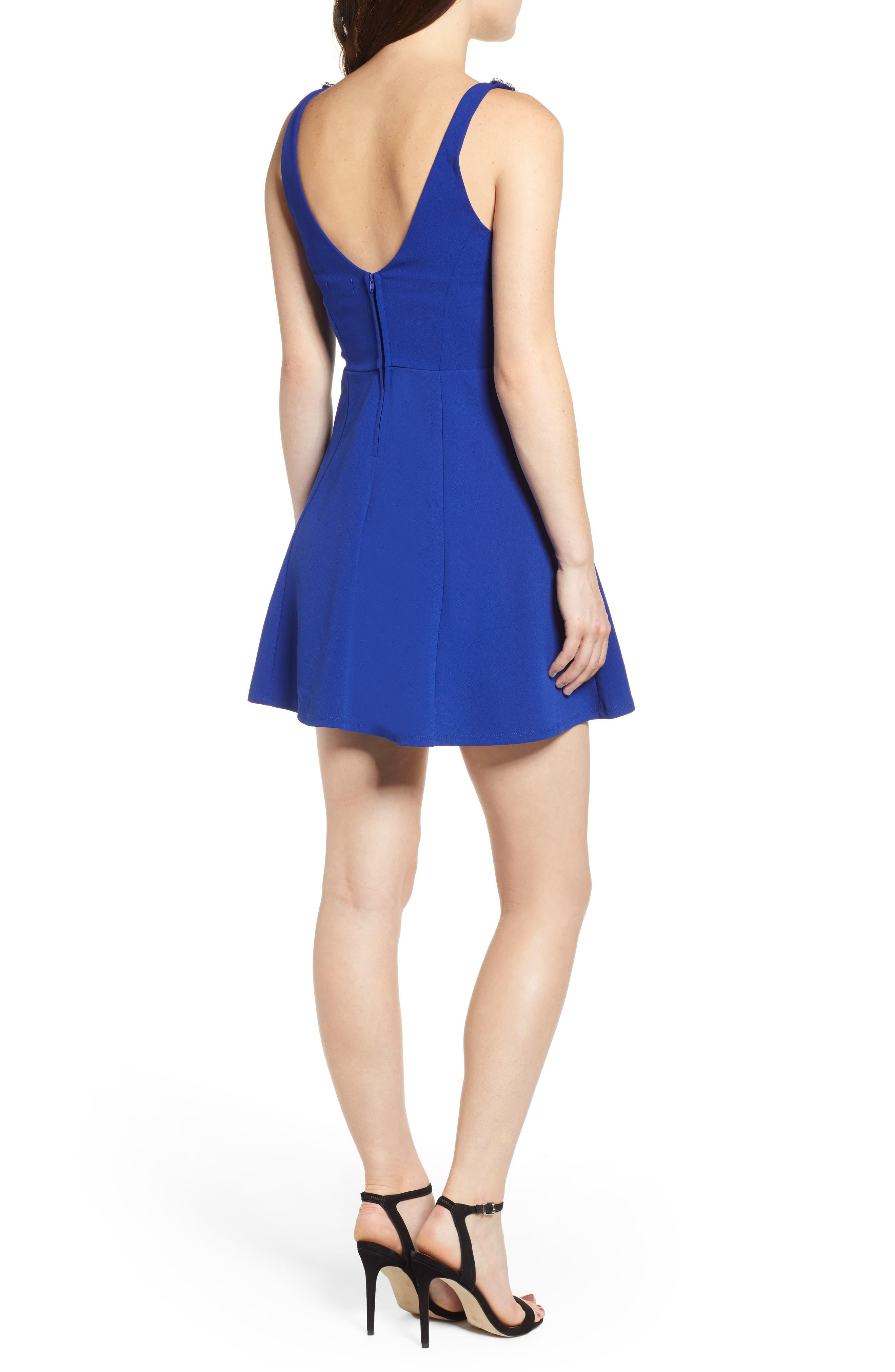 Jewel Strap Skater Dress,                             Alternate thumbnail 2, color,                             ROYAL