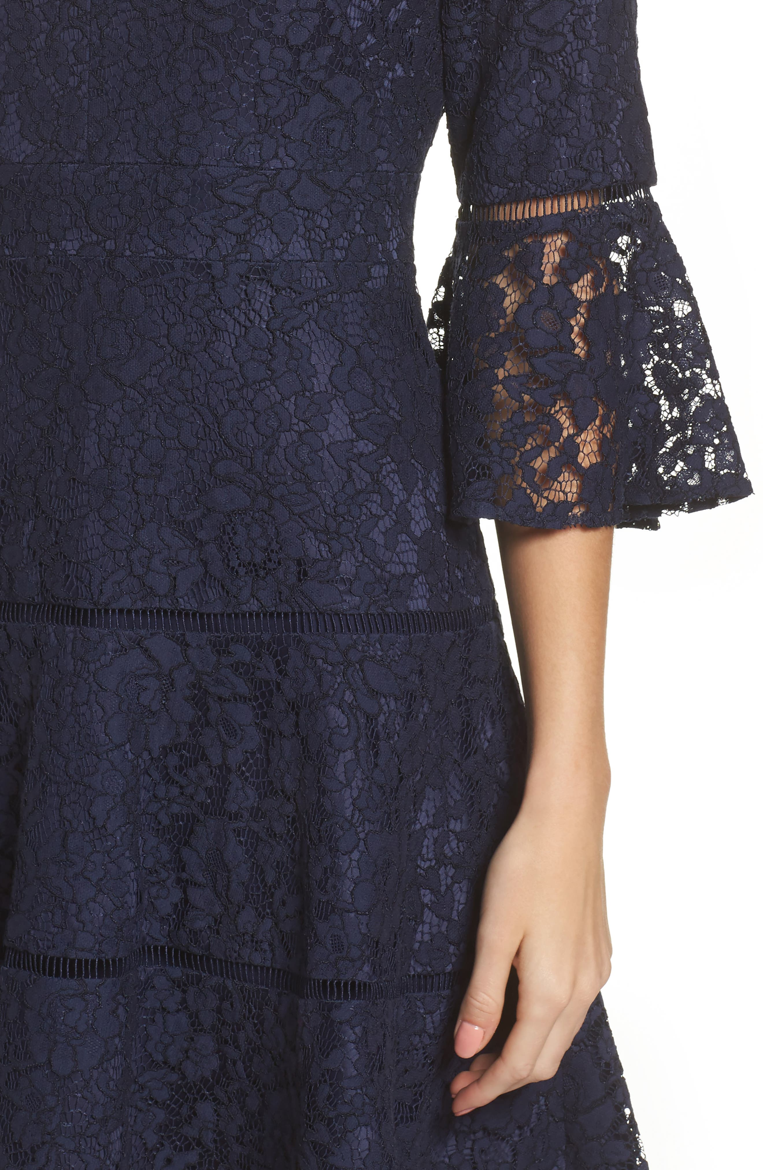 Bell Sleeve Lace Fit & Flare Dress,                             Alternate thumbnail 7, color,