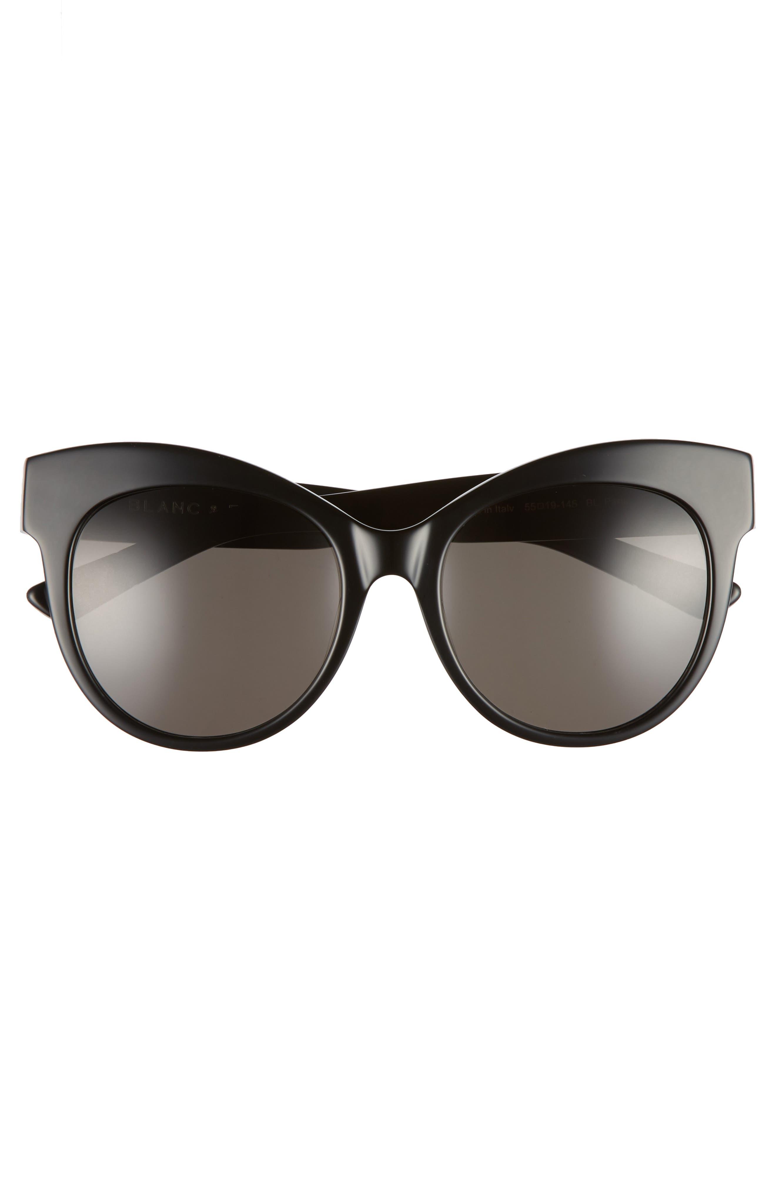 BLANC & ECLARE Paris 55mm Polarized Cat Eye Sunglasses,                             Alternate thumbnail 3, color,                             001