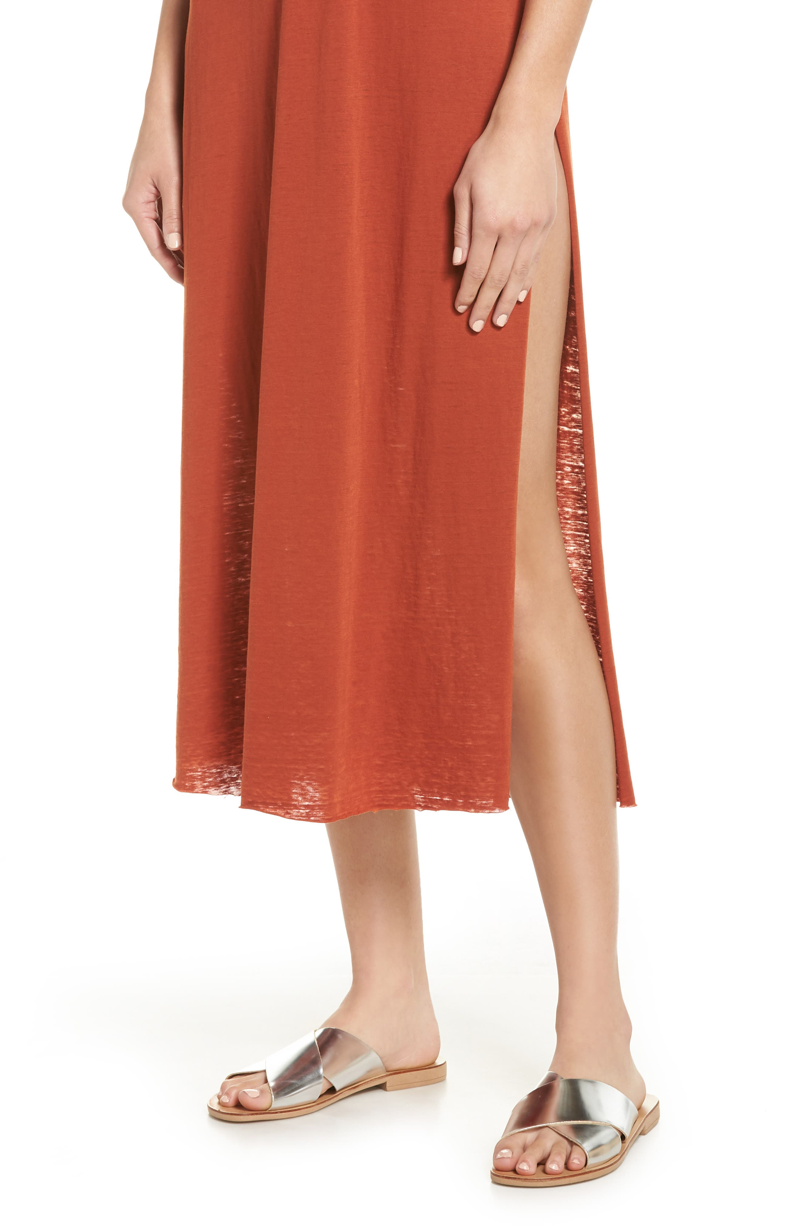 Easy Tee Burnout Cover-Up Dress,                             Alternate thumbnail 4, color,                             RUST PICANTE