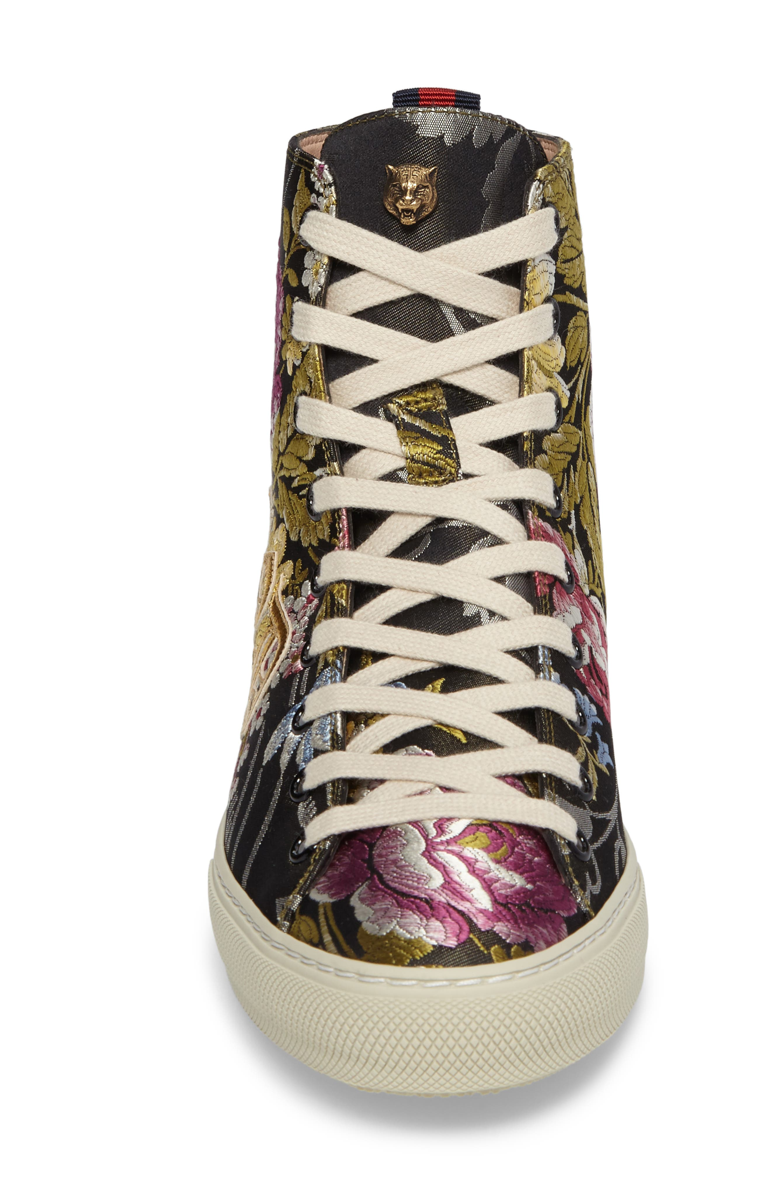 Floral High Top Sneaker,                             Alternate thumbnail 4, color,                             001