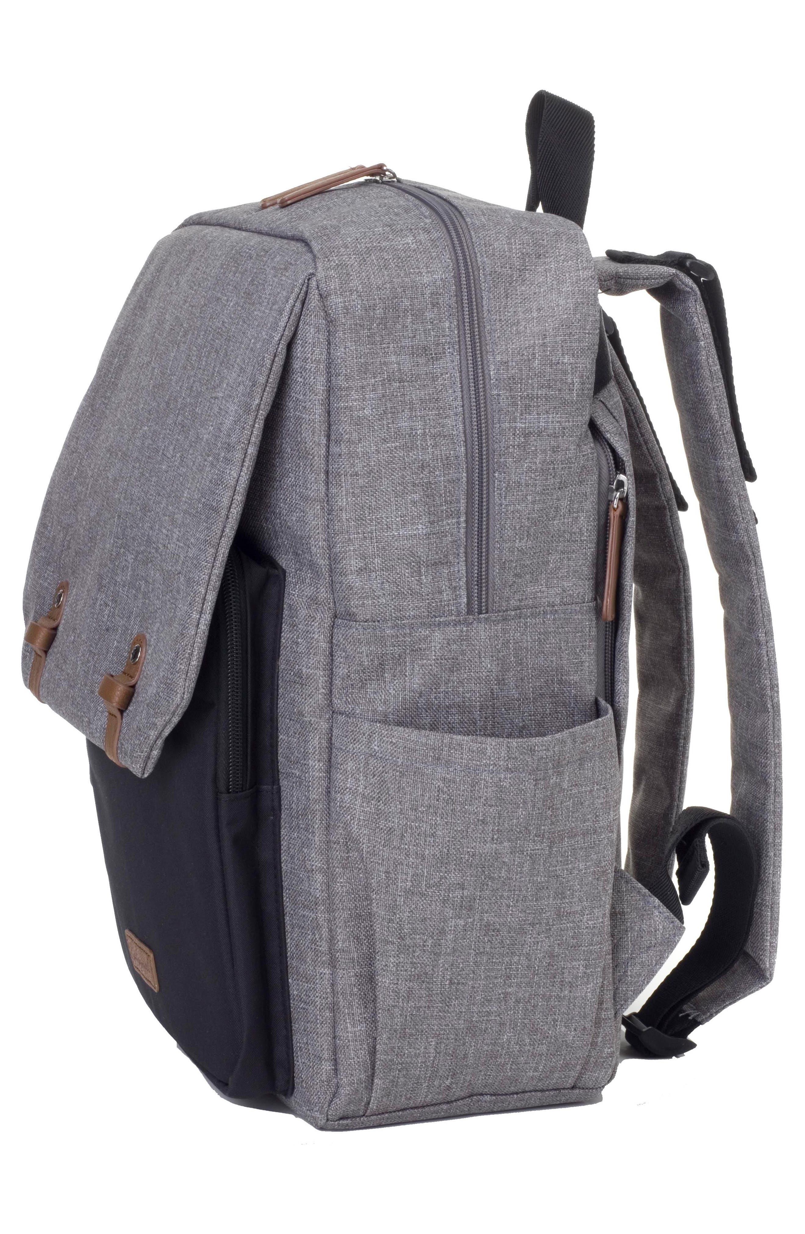 George Water Resistant Diaper Backpack,                             Alternate thumbnail 6, color,                             BLACK/ GREY