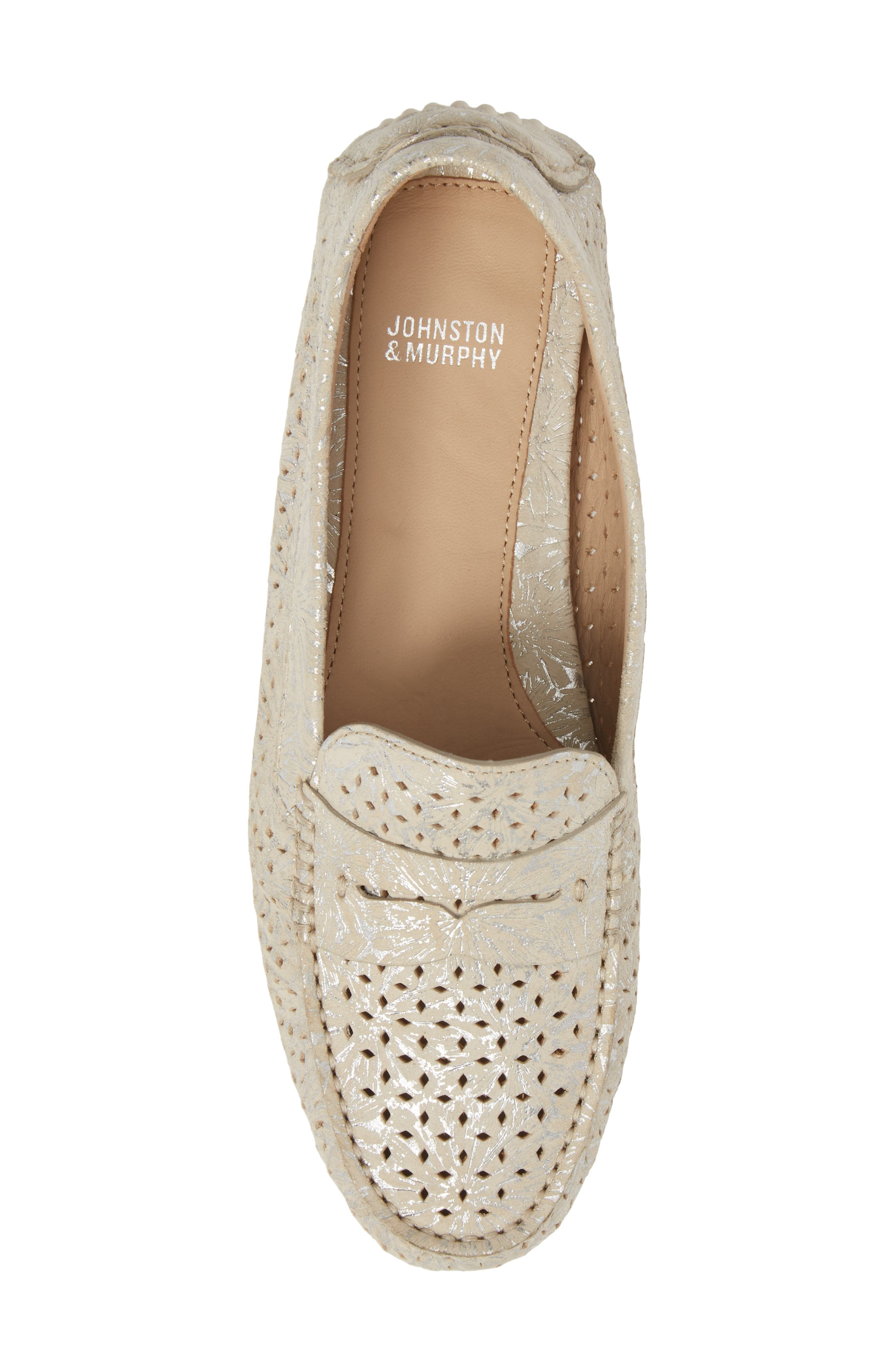 'Maggie' Penny Loafer,                             Alternate thumbnail 5, color,                             CREAM SUEDE