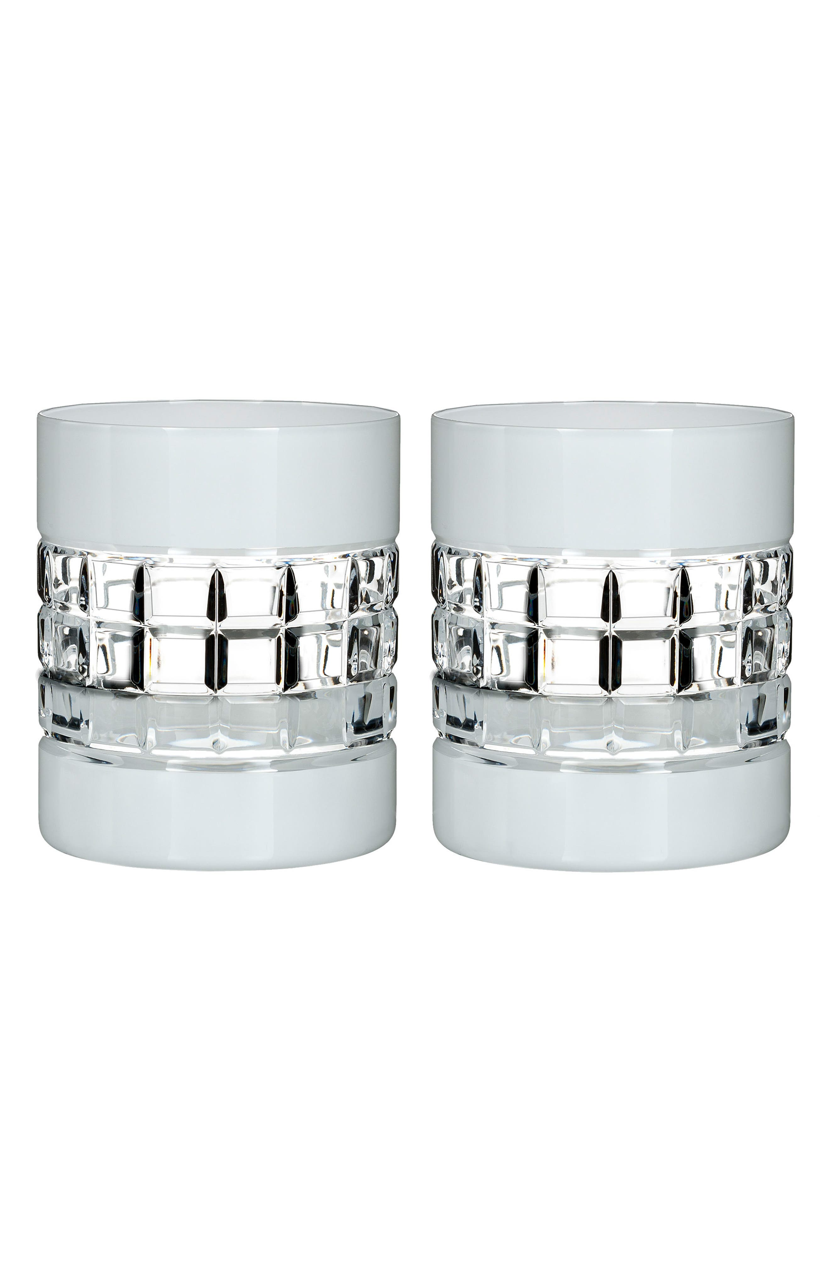 London Set of 2 White Lead Crystal Double Old Fashioned Glasses,                         Main,                         color,