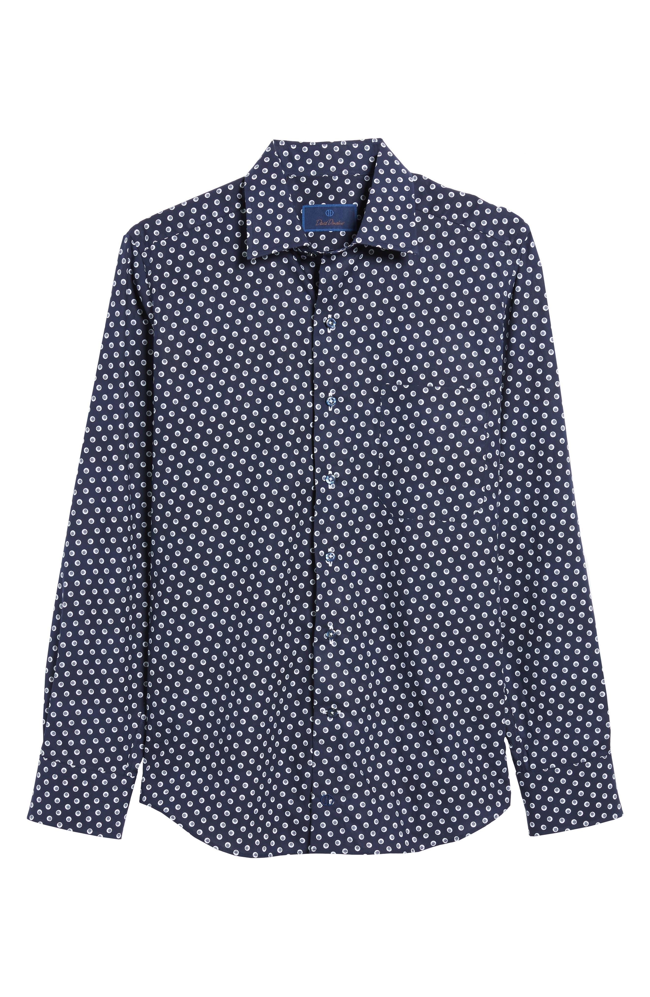 Regular Fit Dot Print Sport Shirt,                             Alternate thumbnail 6, color,                             NAVY/ WHITE