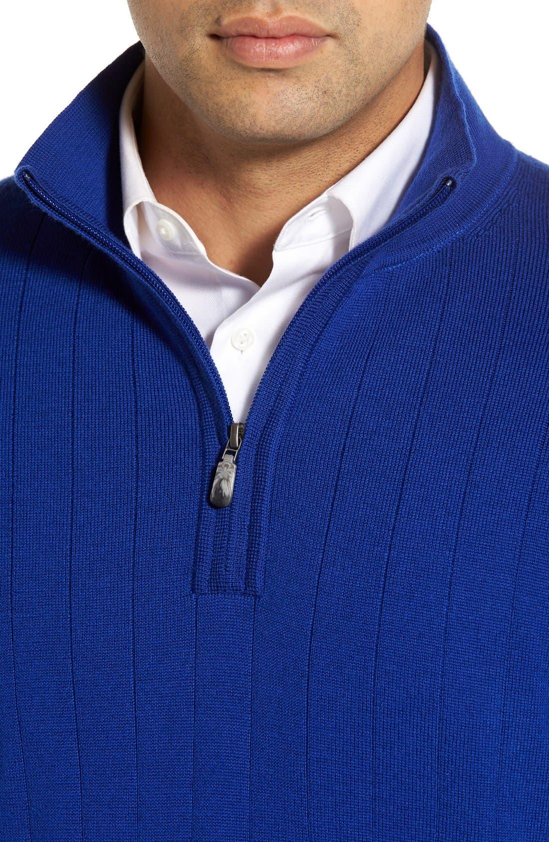 Windproof Merino Wool Quarter Zip Sweater,                             Alternate thumbnail 4, color,                             401
