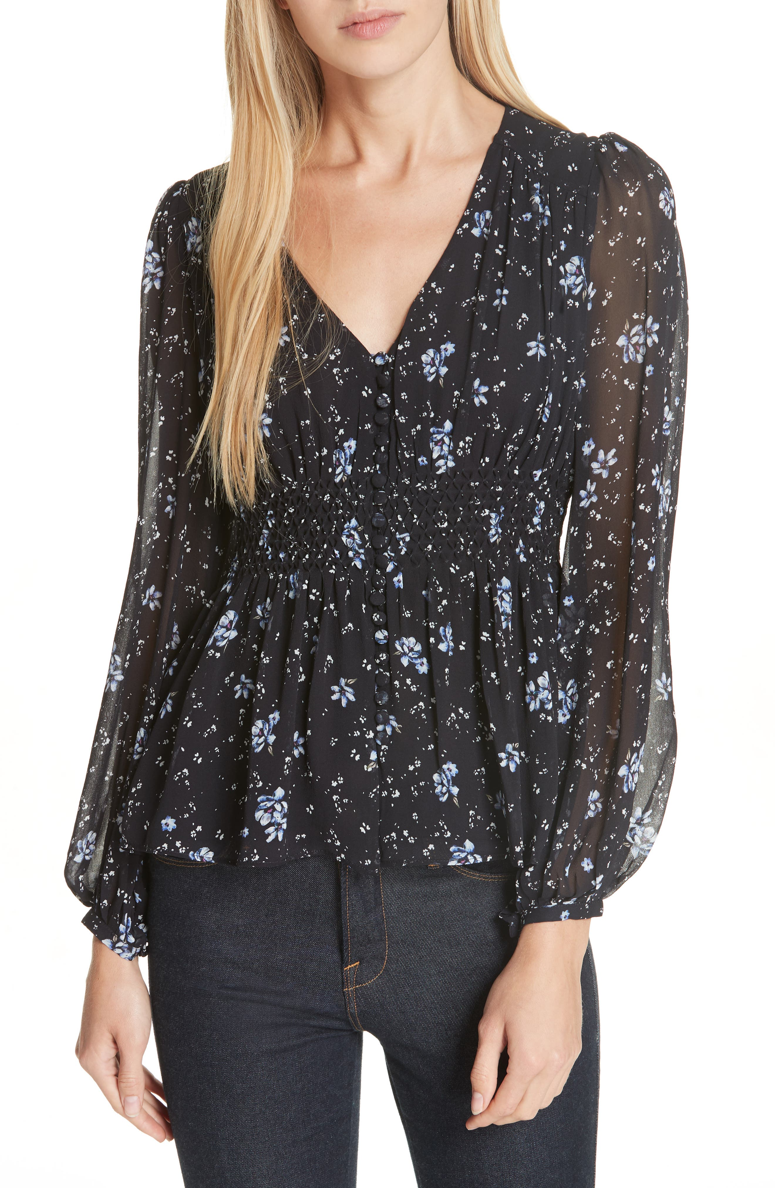 Ditsy Floral Print Silk Blouse,                         Main,                         color, NAVY