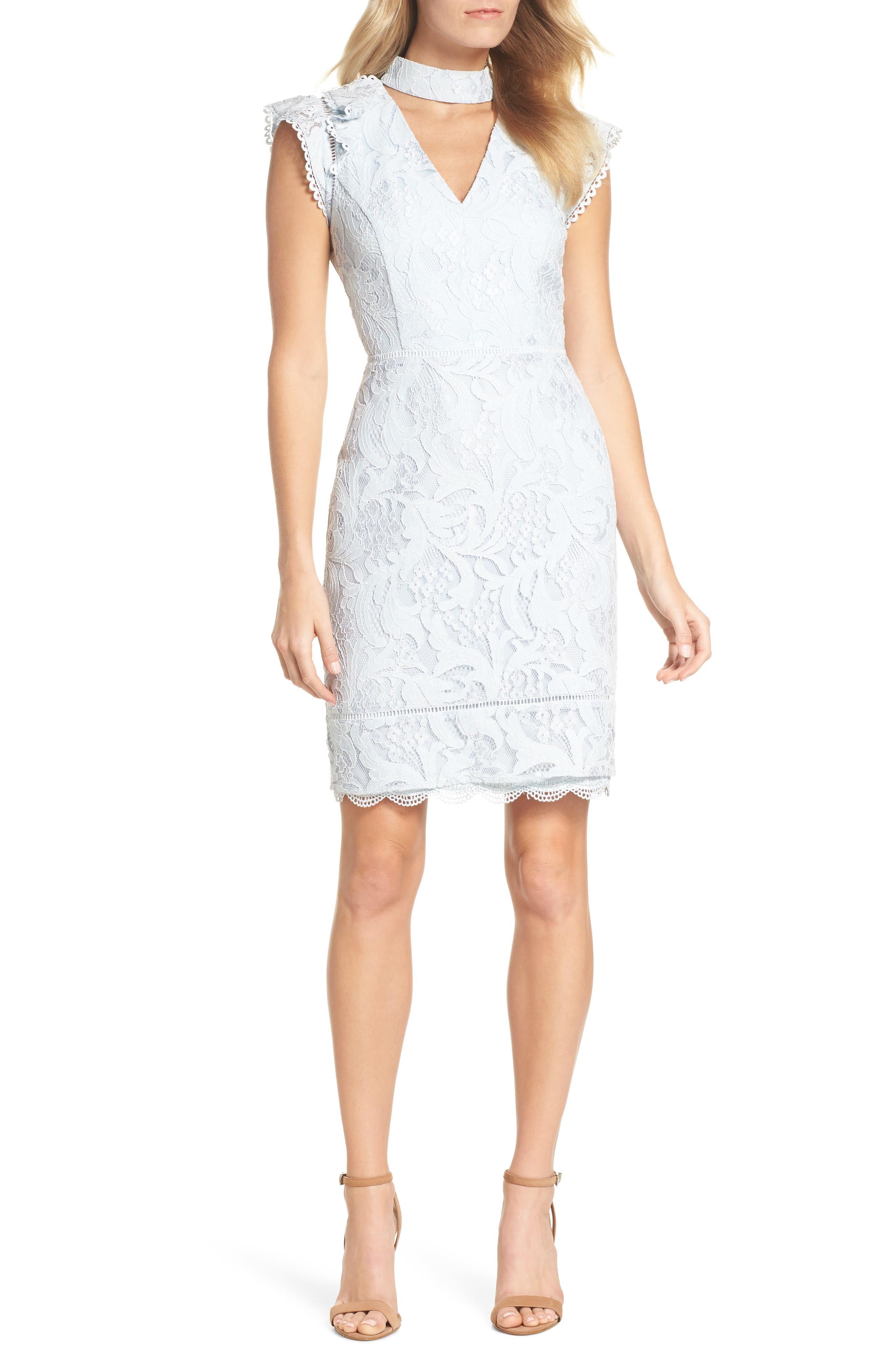 Delilah Lace Sheath Dress,                             Alternate thumbnail 9, color,