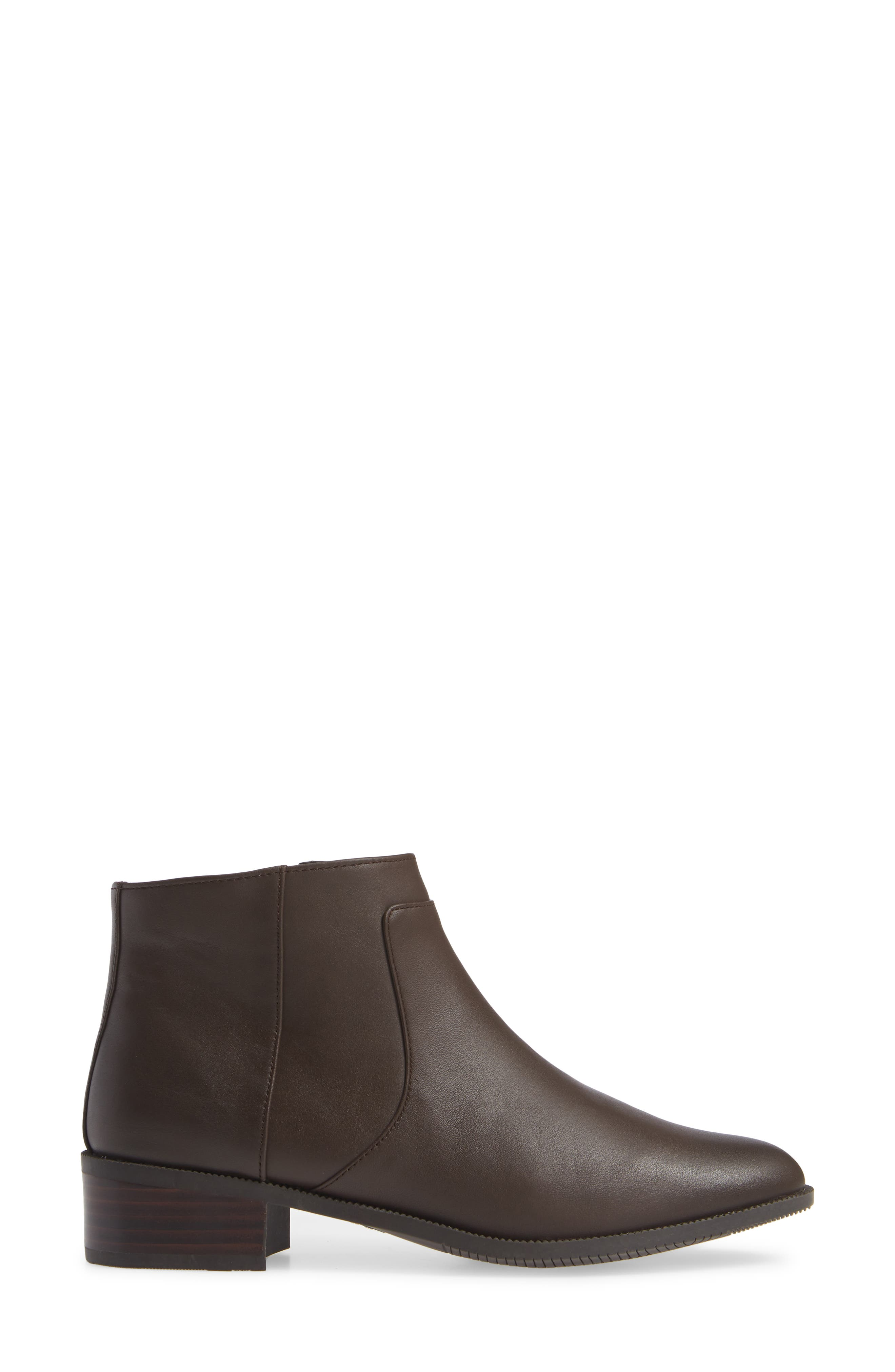 Benette Water Resistant Bootie,                             Alternate thumbnail 3, color,                             CHOCOLATE LEATHER
