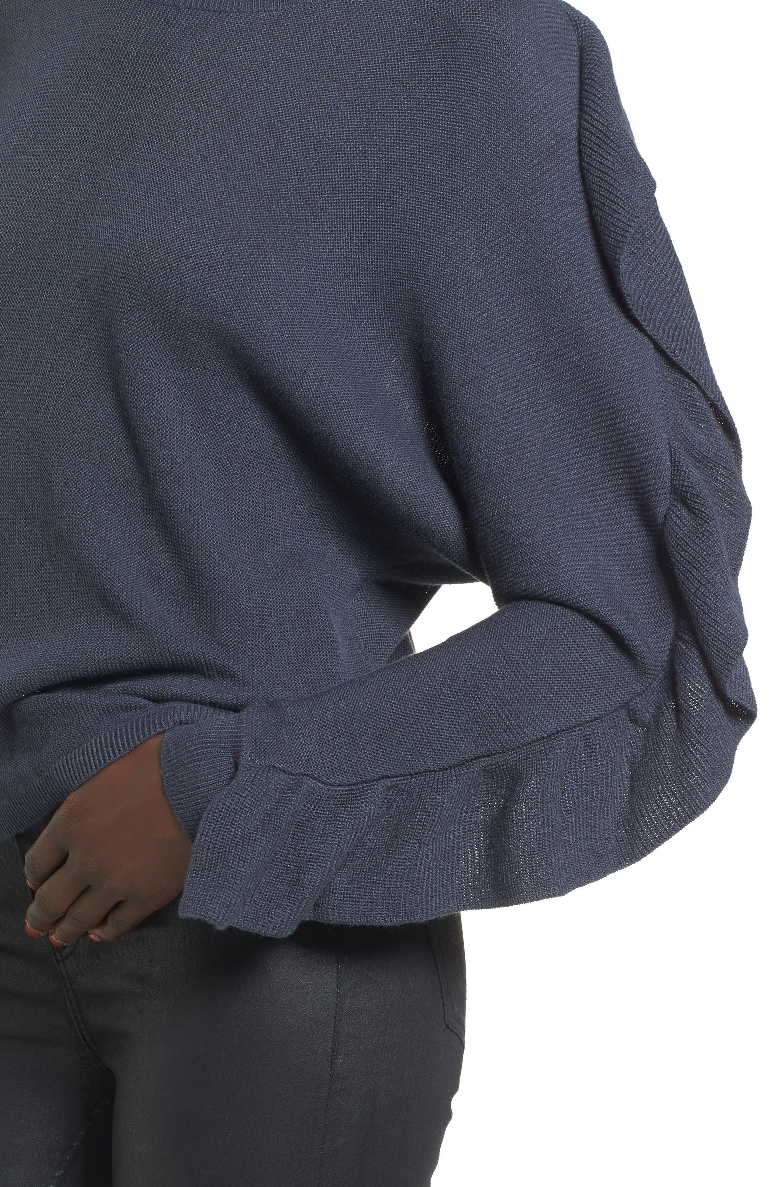Ruffle Sleeve Sweater,                             Alternate thumbnail 13, color,