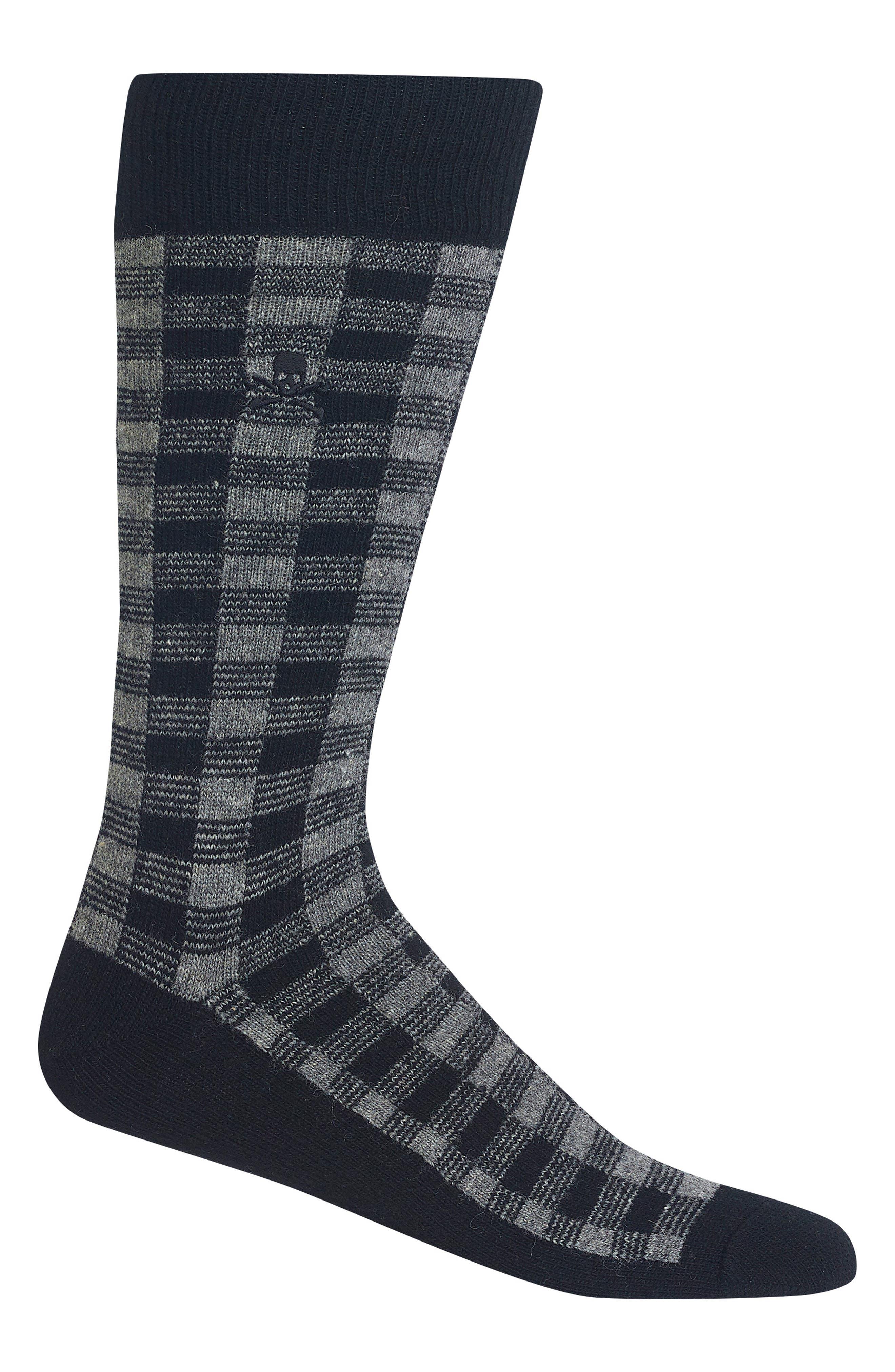 RALPH LAUREN Buffalo Plaid Socks, Main, color, GREY