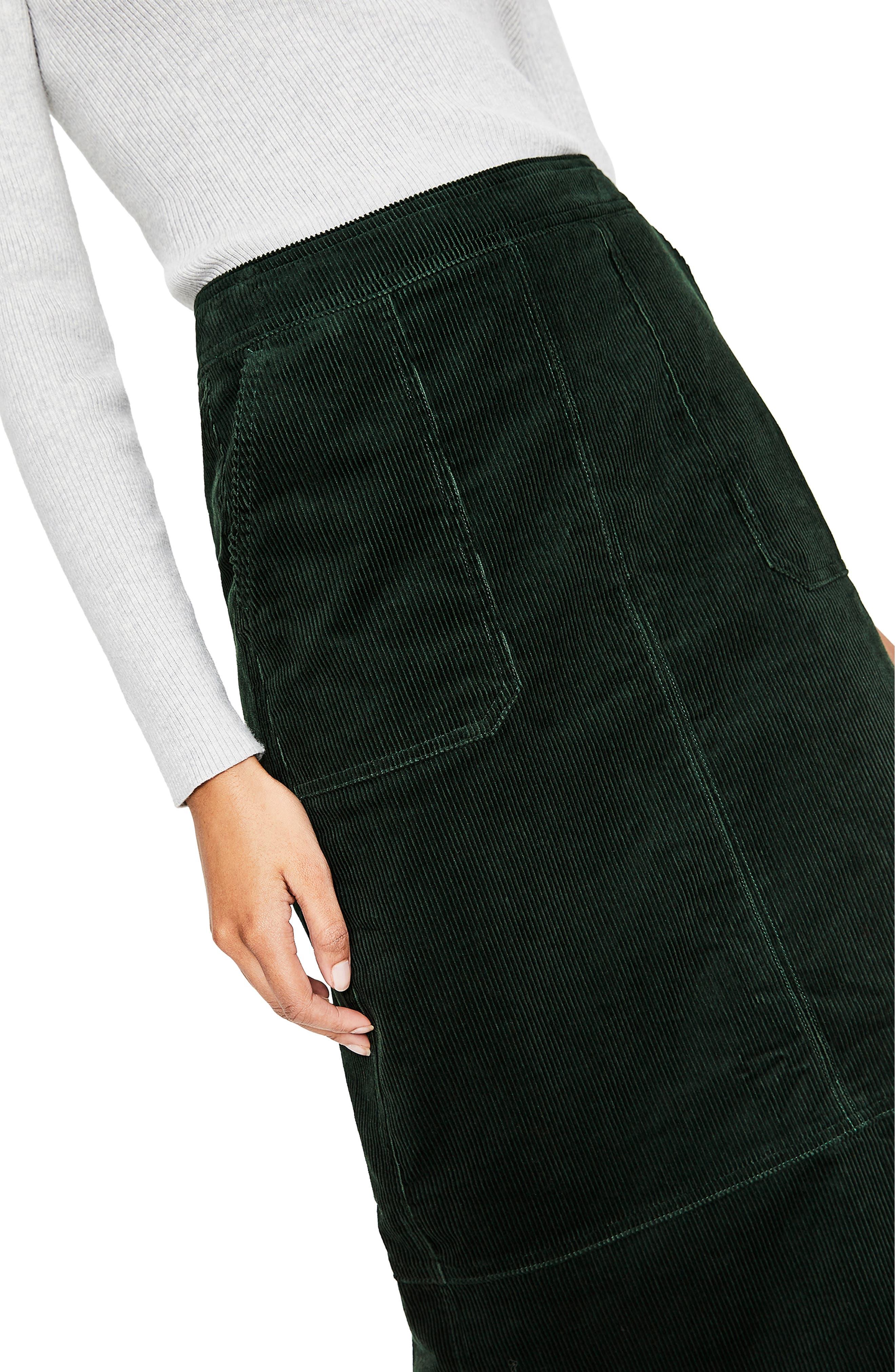 Patch Pocket Corduroy Midi Skirt,                             Alternate thumbnail 4, color,                             CHATSWORTH GREEN