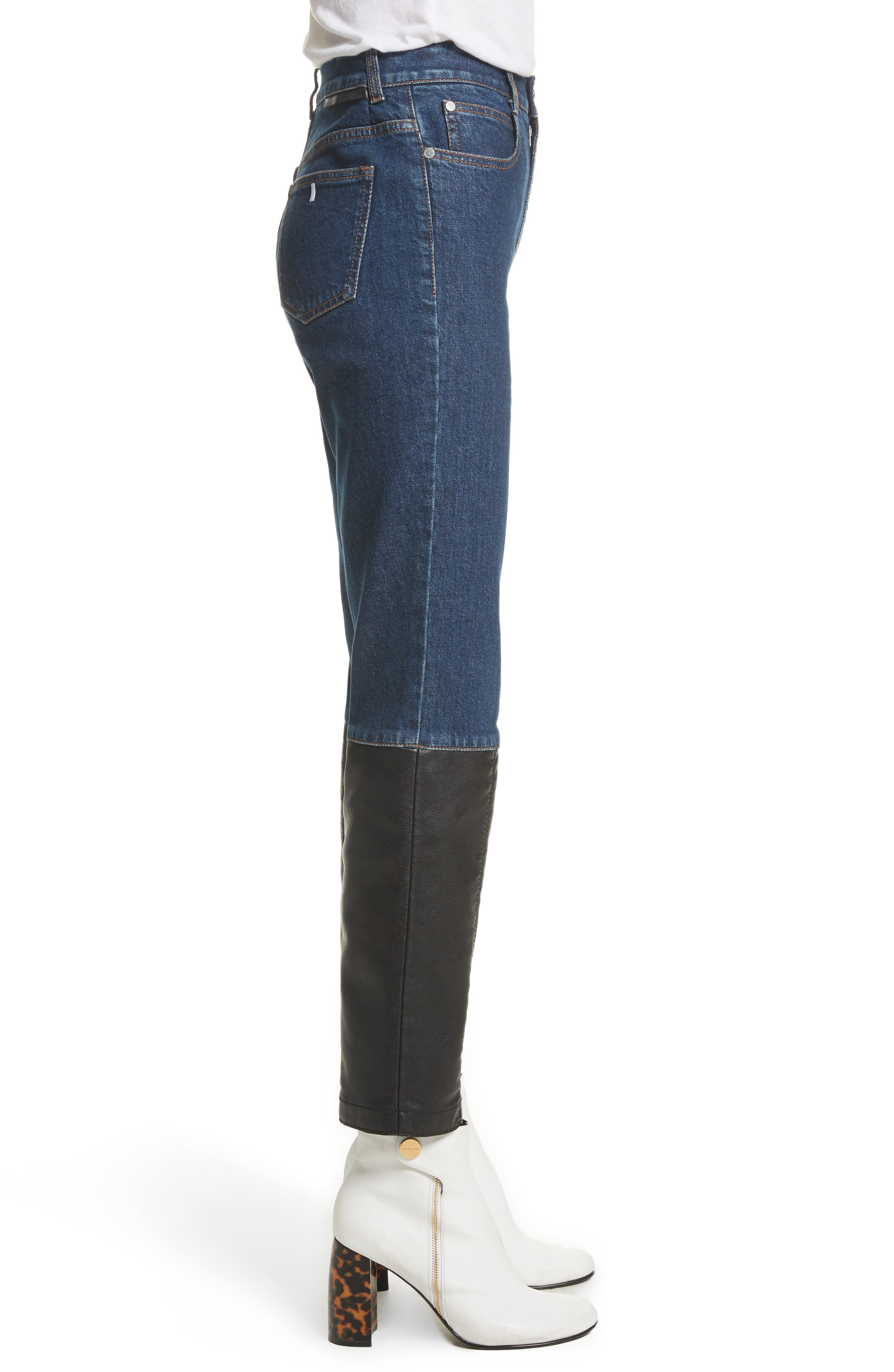 Alter Leather Trim High Waist Straight Leg Jeans,                             Alternate thumbnail 3, color,                             400