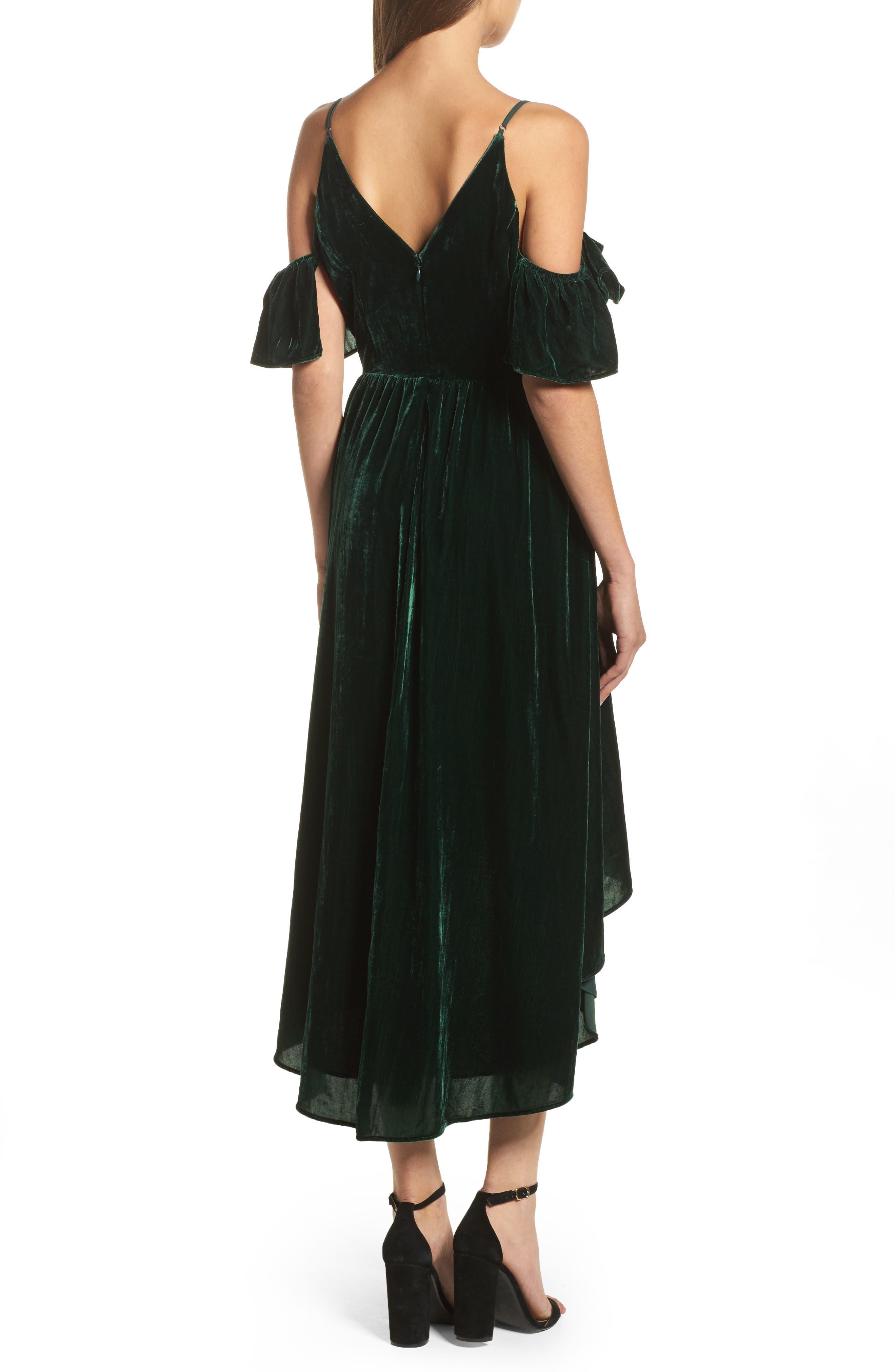 Cold Shoulder Velvet Midi Dress,                             Alternate thumbnail 2, color,                             301