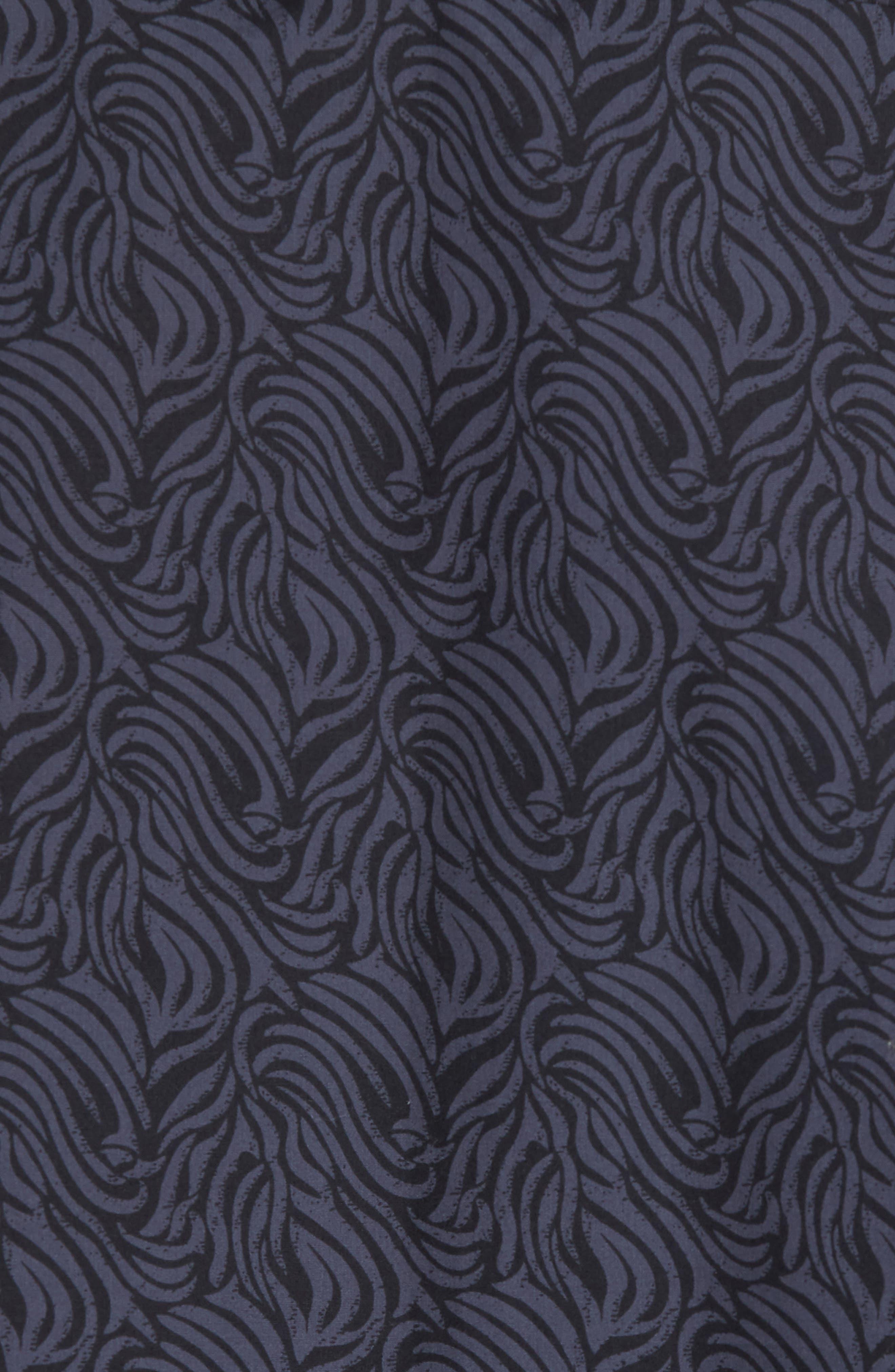 Trim Fit Print Welt Pocket Sport Shirt,                             Alternate thumbnail 5, color,                             NAVY BLUE BLACK BRUSH STROKE